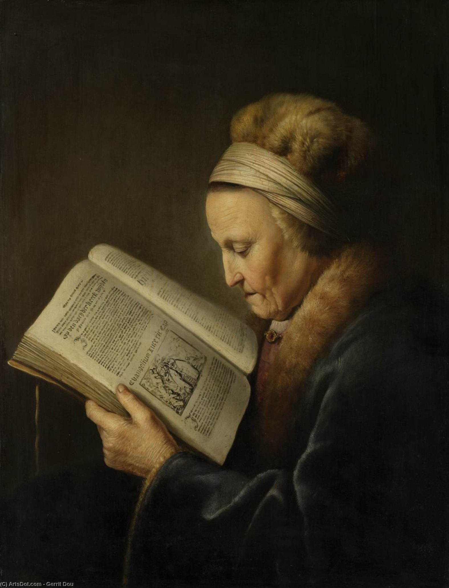 Old Woman Reading a Bible, Oil by Gerrit (Gérard) Dou (1613-1675, Netherlands)