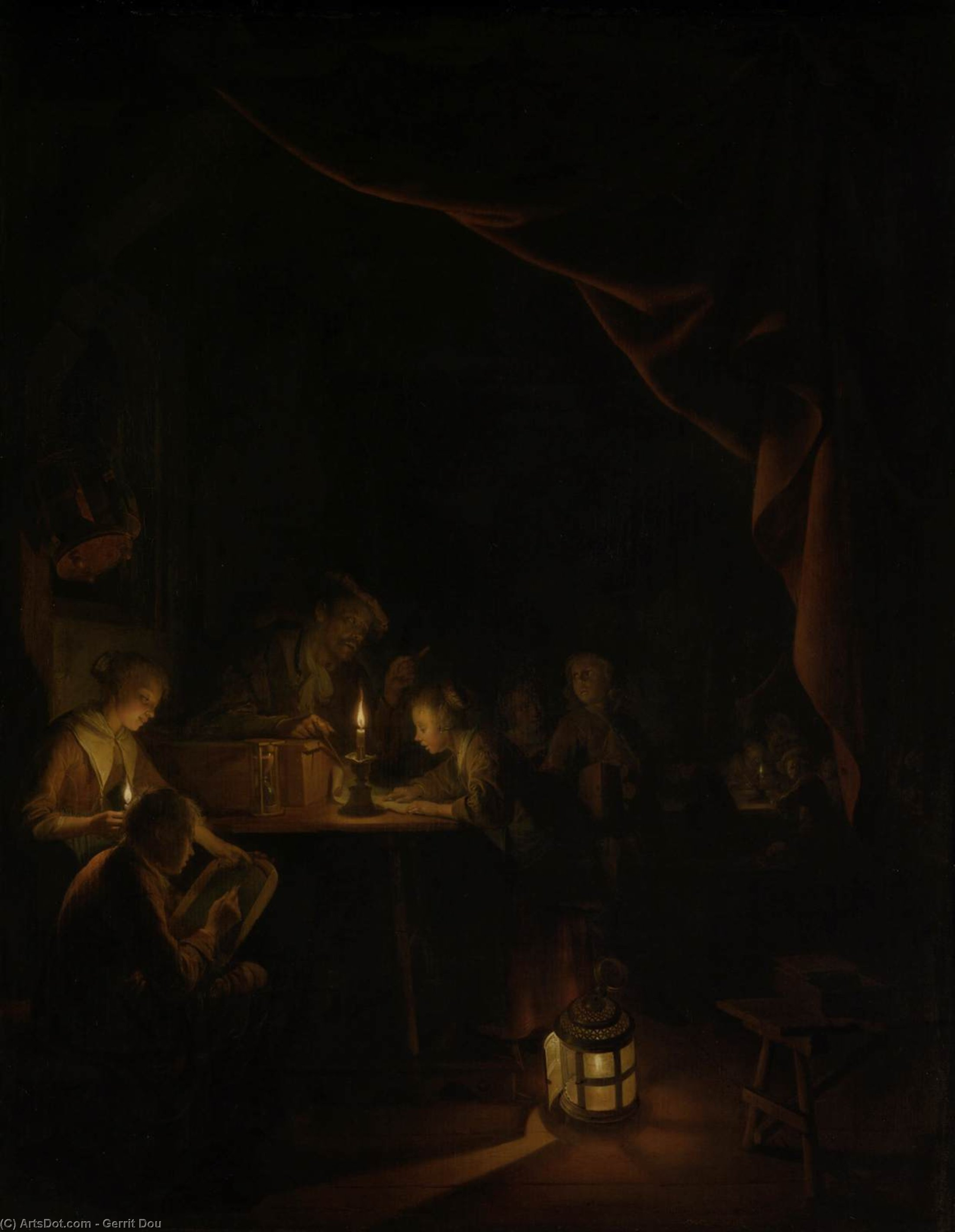 The Night School, Oil On Panel by Gerrit (Gérard) Dou (1613-1675, Netherlands)