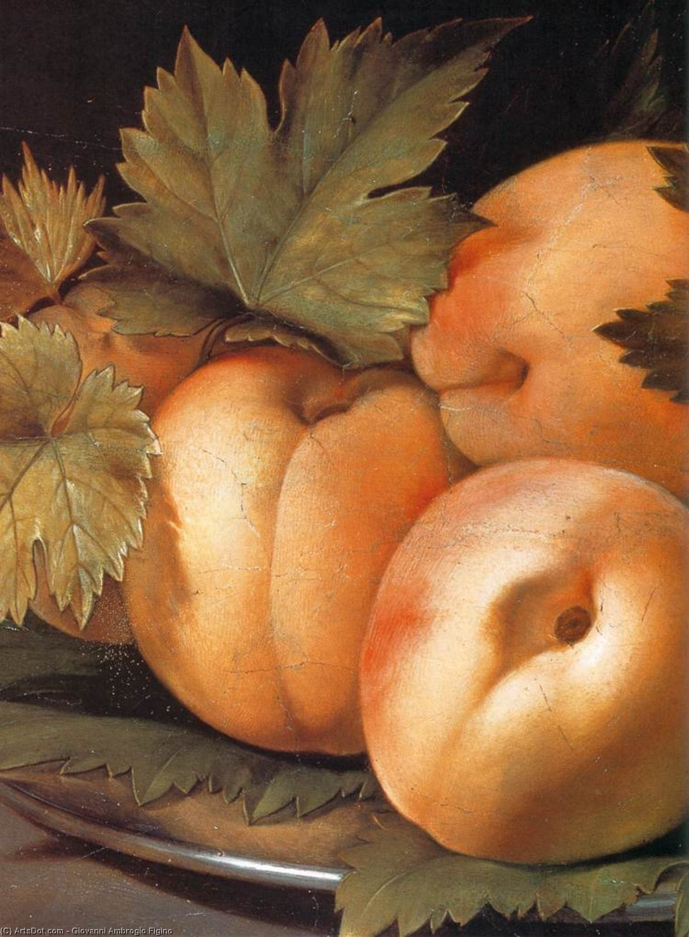 Metal Plate with Peaches and Vine Leaves (detail), Oil On Panel by Giovanni Ambrogio Figino (1553-1608, Italy)