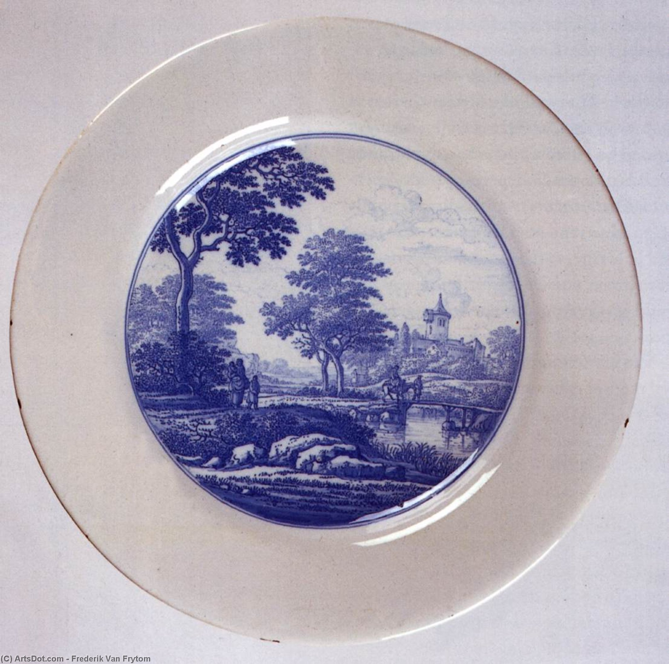 Dish with a landscape, 1680 by Frederik Van Frytom (1630-1702, Netherlands)