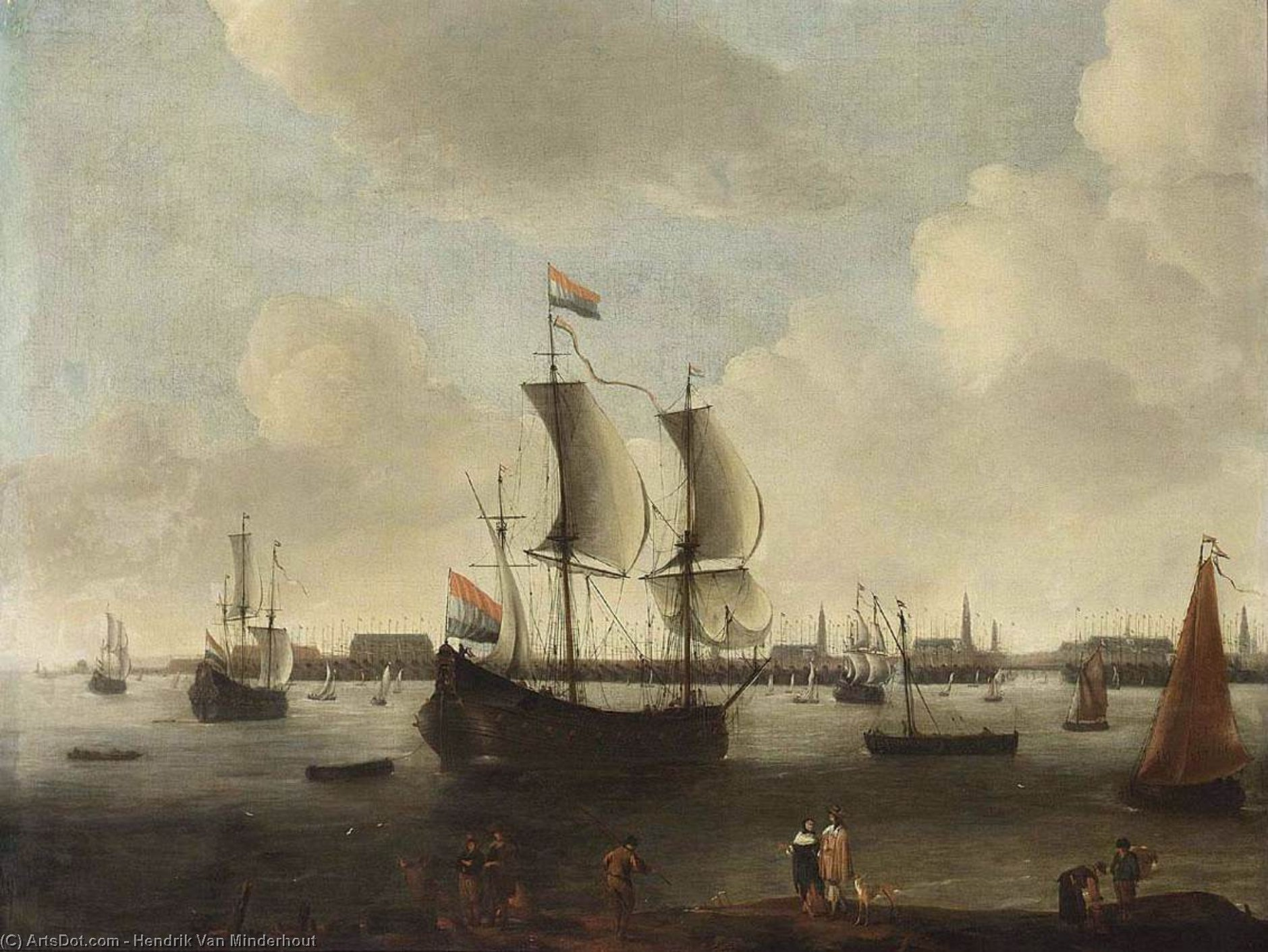 Extensive View of a City, Oil On Canvas by Hendrik Van Minderhout (1632-1696, Netherlands)