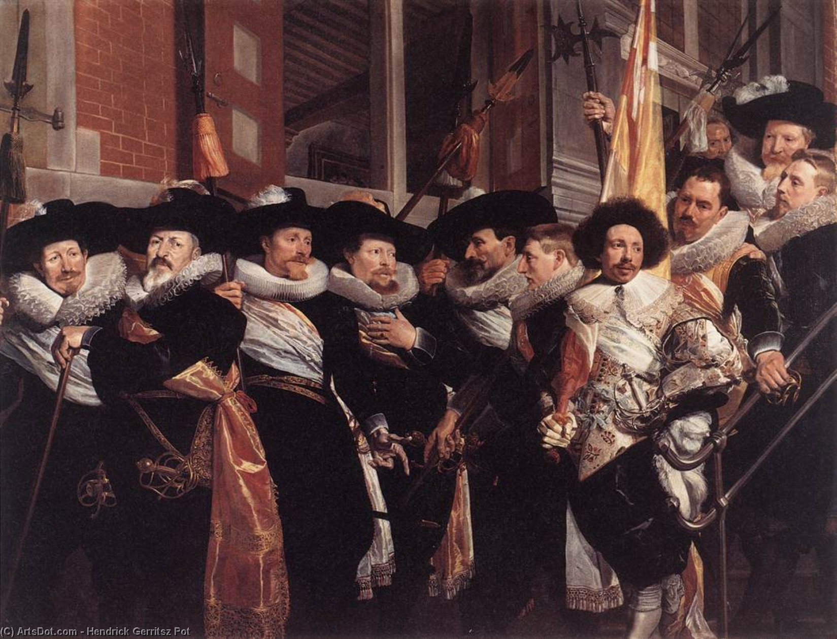 Officers of the Civic Guard of St Adrian, 1630 by Hendrick Gerritsz Pot (1580-1657, Netherlands) | Paintings Reproductions Hendrick Gerritsz Pot | ArtsDot.com