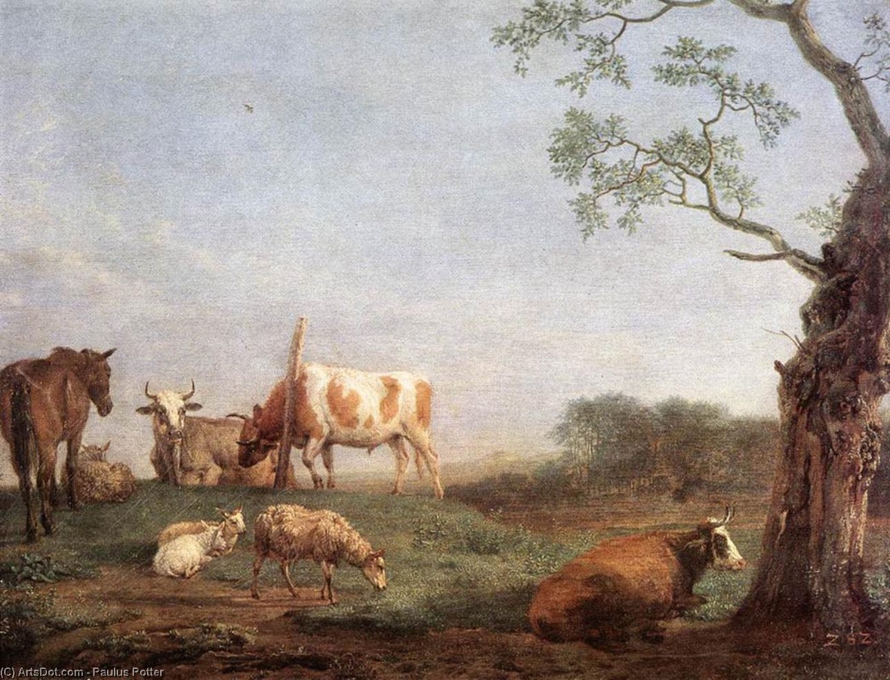 Resting Herd, 1652 by Paulus Potter (1625-1654, Netherlands) | Painting Copy | ArtsDot.com