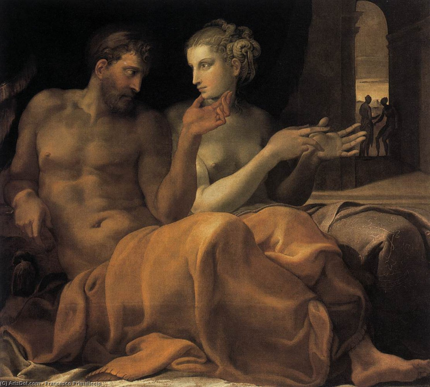 Ulysses and Penelope, Oil On Canvas by Francesco Primaticcio (1504-1570, Italy)