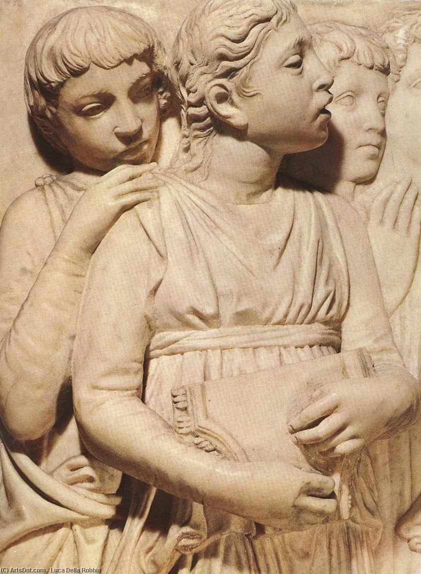 Cantoria: second top relief (detail), 1431 by Luca Della Robbia (1399-1482, Italy) | Museum Art Reproductions | ArtsDot.com