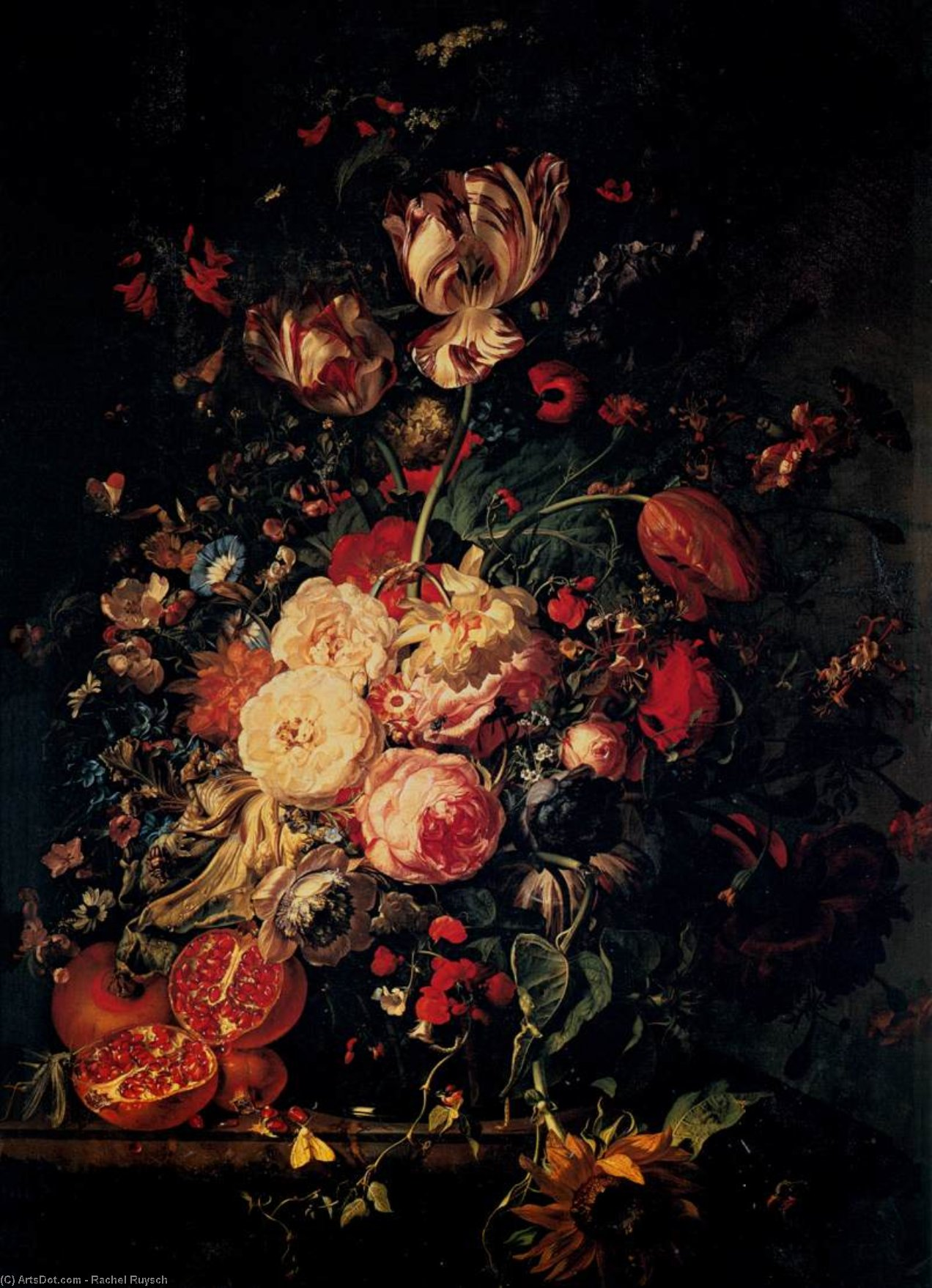 Still-Life with Flowers, Oil On Canvas by Rachel Ruysch (1664-1750, Netherlands)