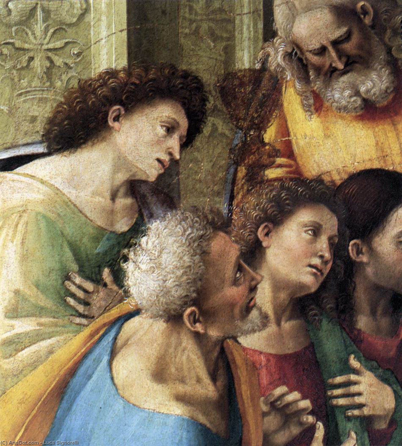 Communion of the Apostles (detail), Panel by Luca Signorelli (1450-1523, Italy)
