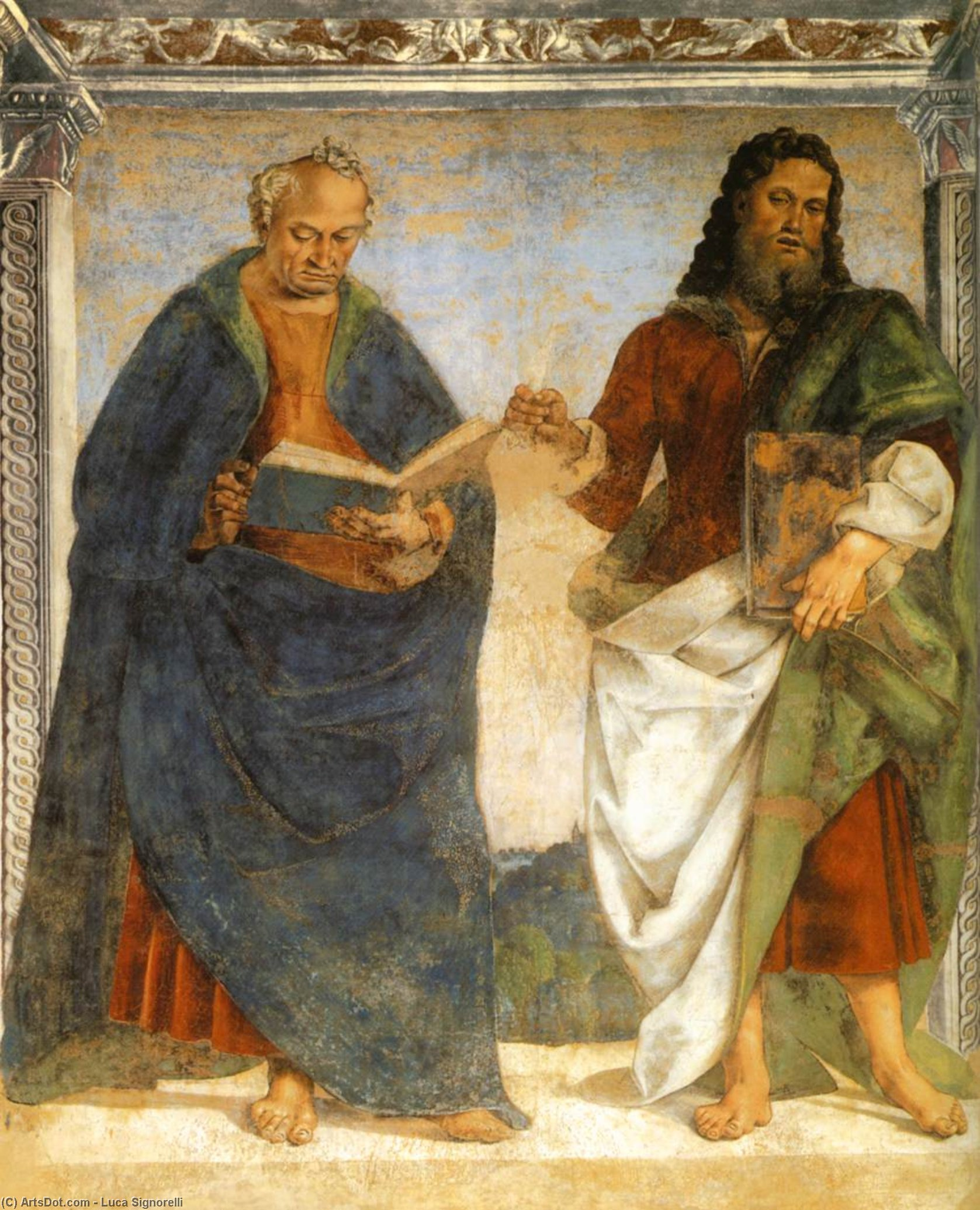 Pair of Apostles in Dispute, Frescoes by Luca Signorelli (1450-1523, Italy)
