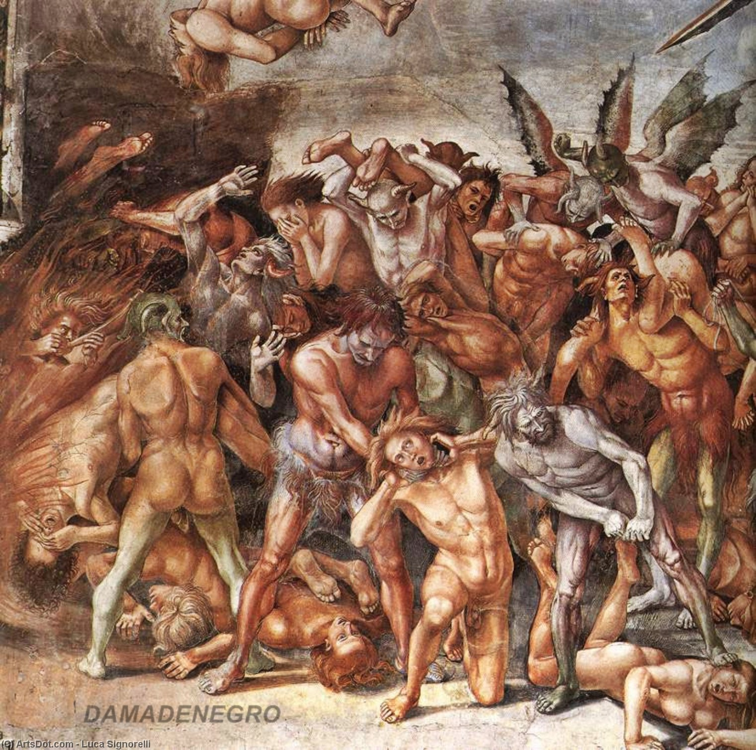 The Damned (detail) (9), Frescoes by Luca Signorelli (1450-1523, Italy)