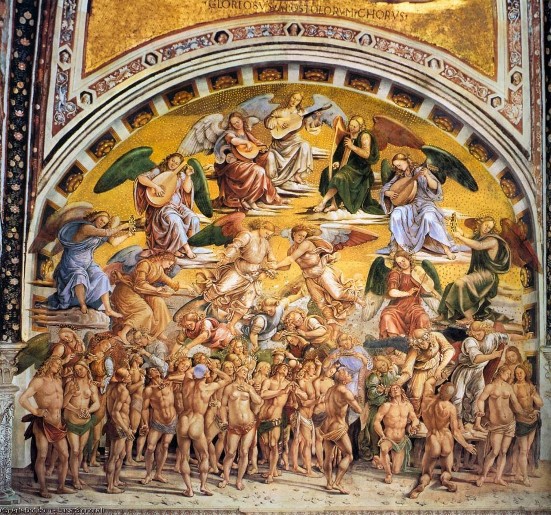 The Elect, Frescoes by Luca Signorelli (1445-1523, Italy)