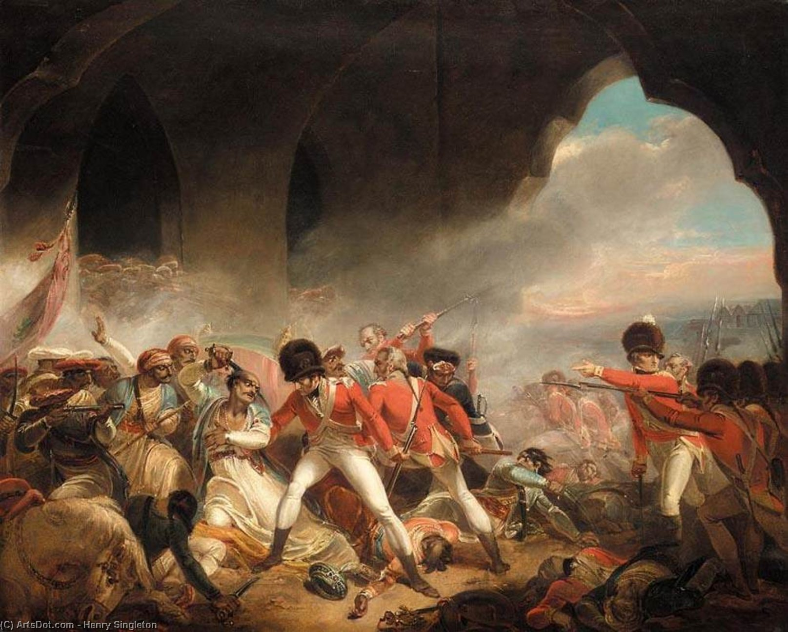 The Last Effort and Fall of Tippoo Sultan, 1800 by Henry Singleton (1766-1839, United States) | Museum Quality Reproductions | ArtsDot.com