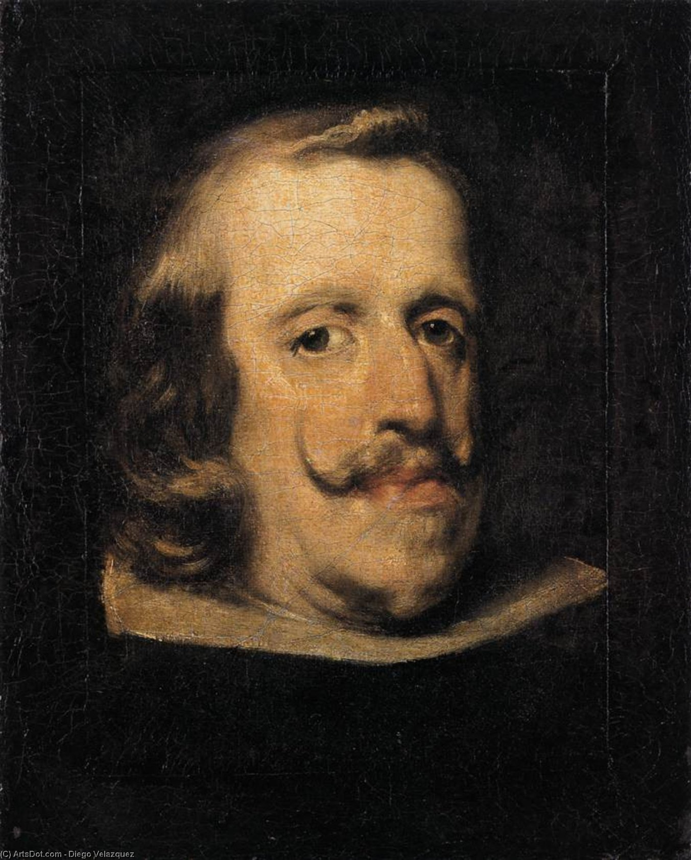 Portrait of Philip IV (fragment), Oil On Canvas by Diego Velazquez (1599-1660, Spain)