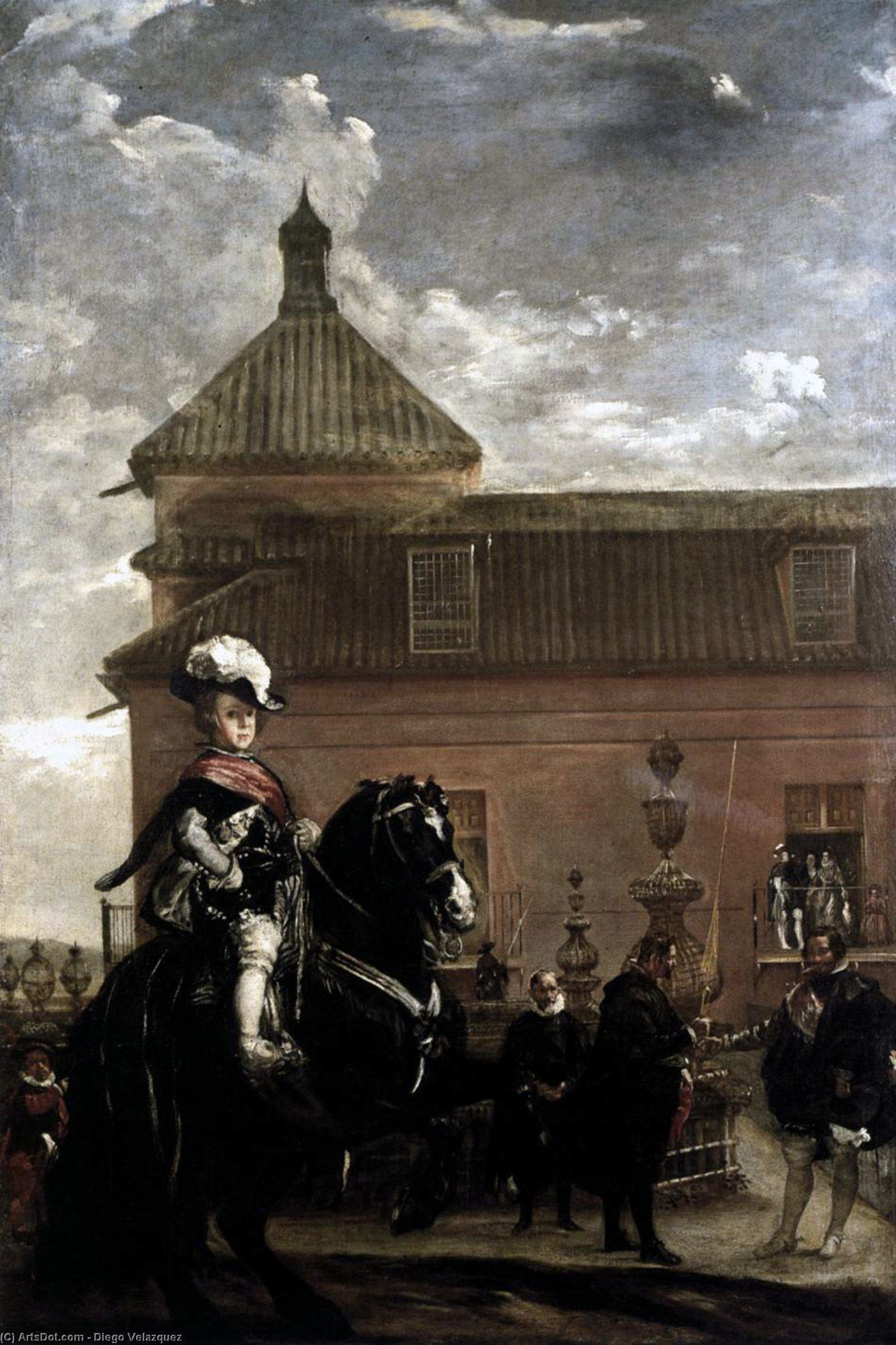 Prince Baltasar Carlos with the Count-Duke of Olivares at the Royal Mews, Oil On Canvas by Diego Velazquez (1599-1660, Spain)