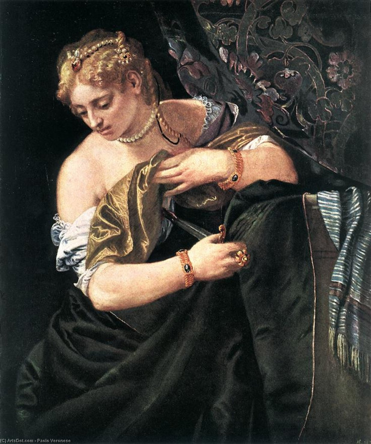 Lucretia, 1580 by Paolo Veronese (1528-1588, Italy) | Paintings Reproductions Paolo Veronese | ArtsDot.com