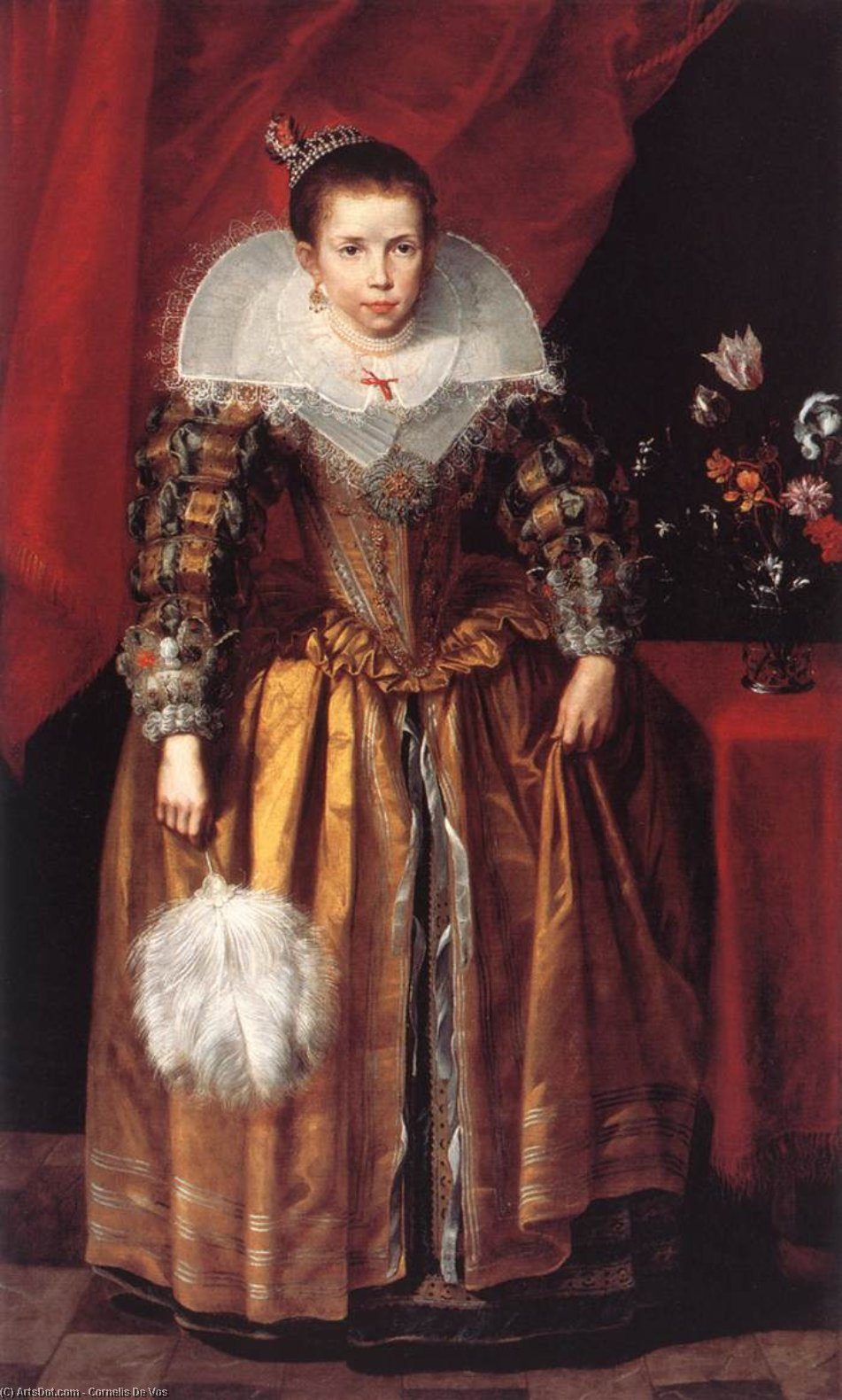 Portrait of a Girl at the Age of 10, Oil On Canvas by Cornelis De Vos (1585-1651, Belgium)