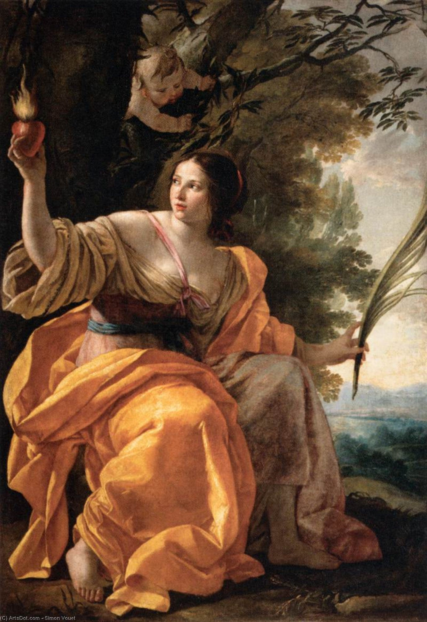 Heavenly Charity, Oil On Canvas by Simon Vouet (1590-1649, France)