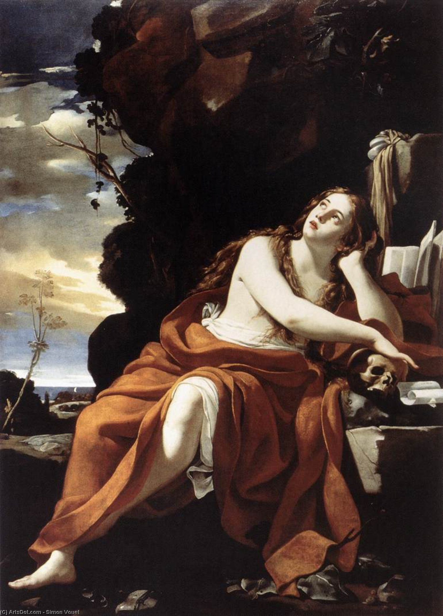 St Mary Magdalene, Oil On Canvas by Simon Vouet (1590-1649, France)