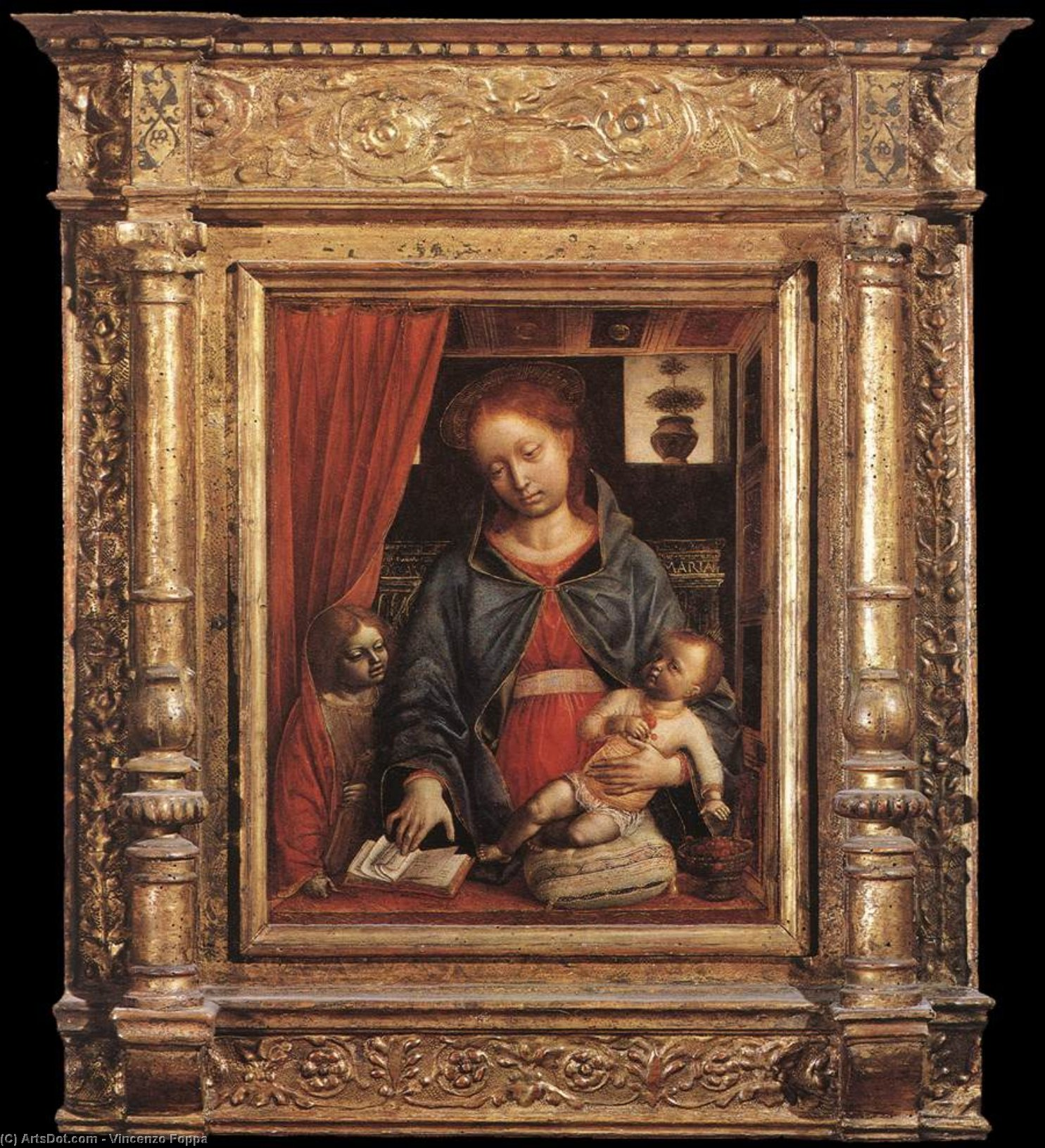 Madonna and Child with an Angel, 1479 by Vincenzo Foppa (1427-1515, Italy) | Museum Art Reproductions | ArtsDot.com