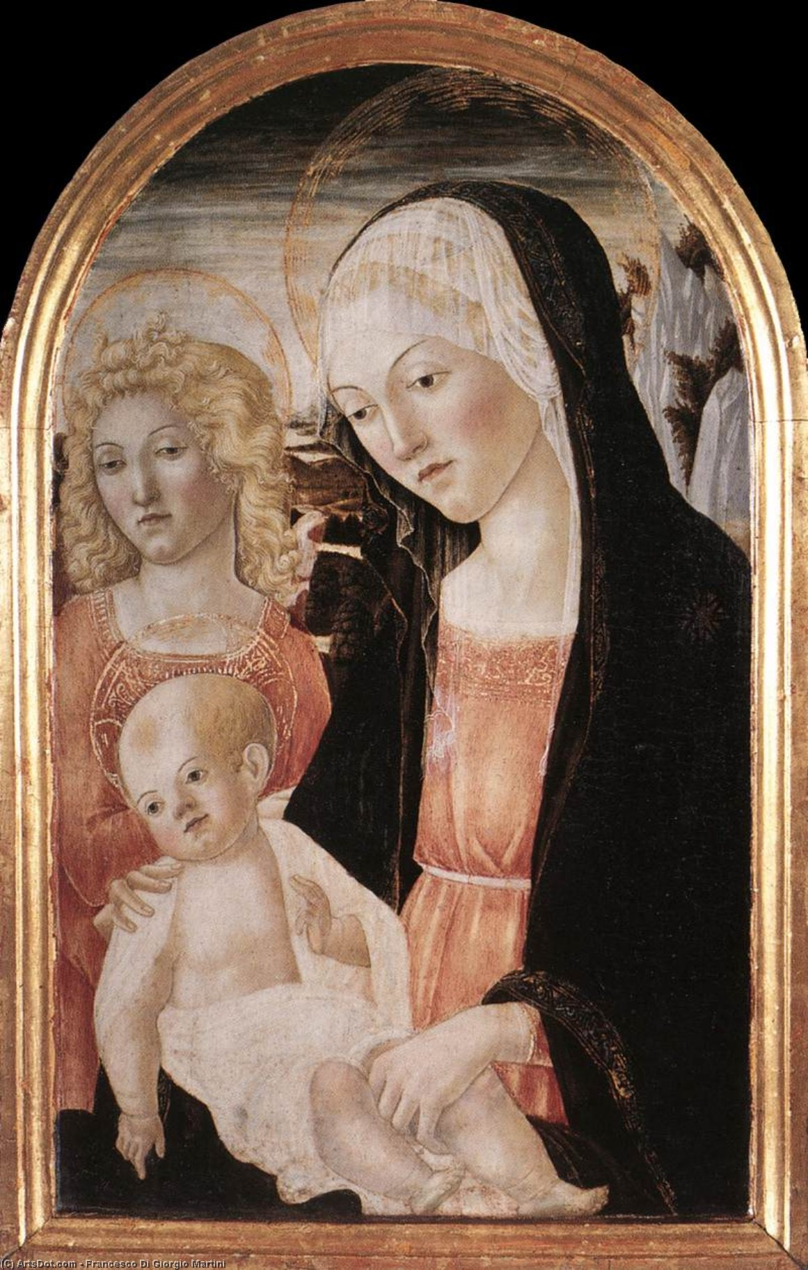 Madonna and Child with an Angel, 1471 by Francesco Di Giorgio Martini (1439-1502, Italy) | Museum Art Reproductions | ArtsDot.com
