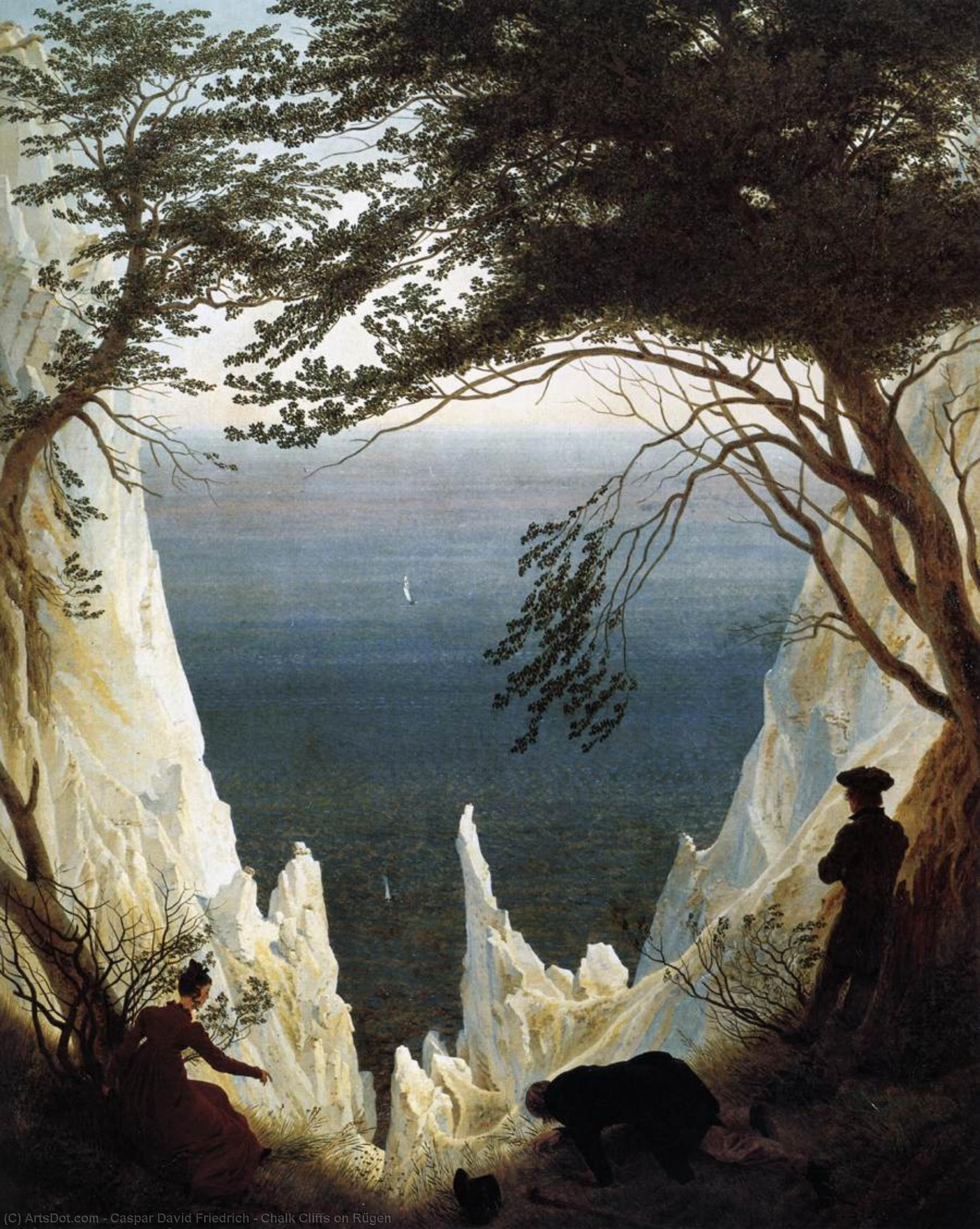 Chalk Cliffs on Rügen, 1818 by Caspar David Friedrich (1774-1840, Germany) | Museum Quality Copies Caspar David Friedrich | ArtsDot.com