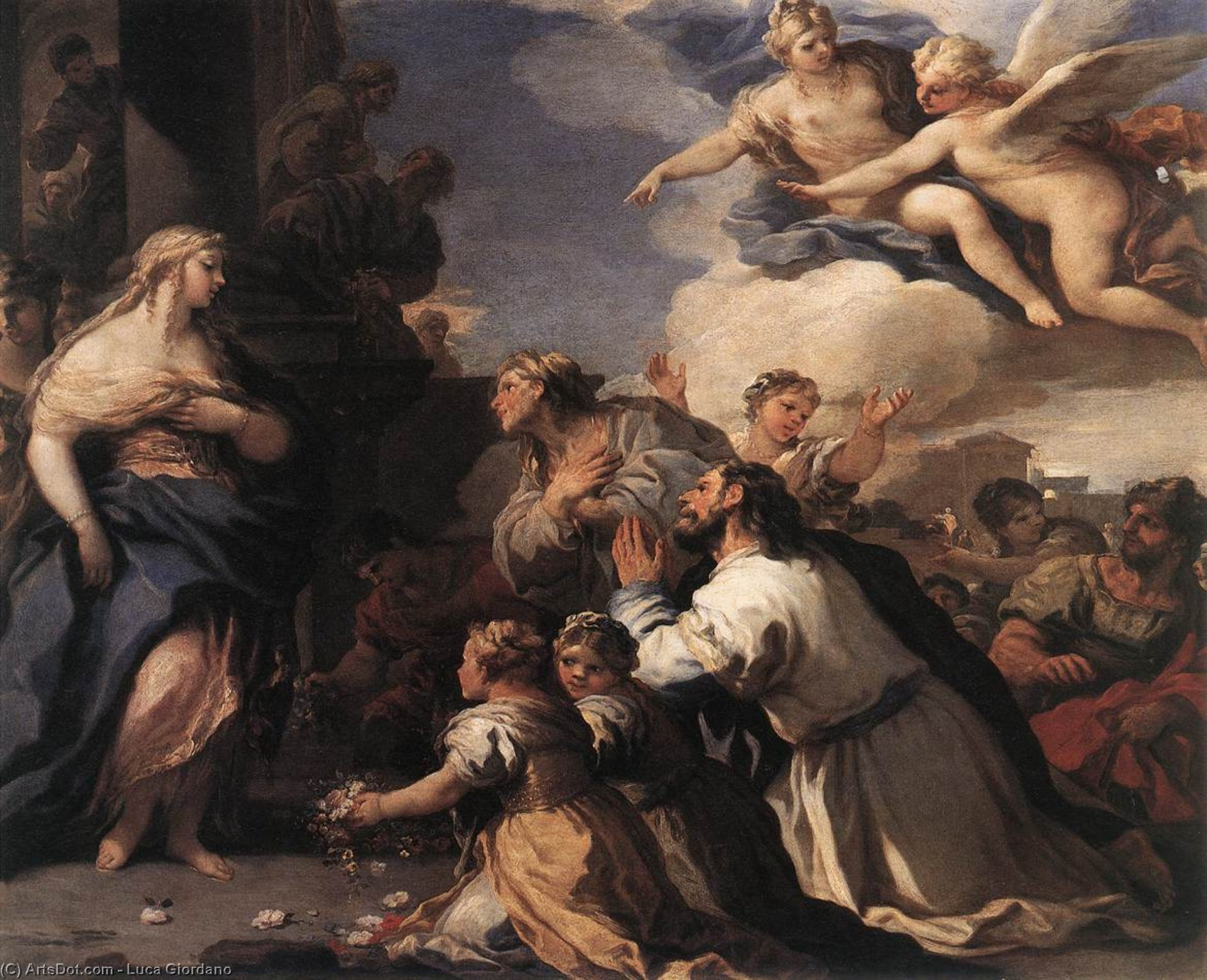 Psyche Honoured by the People, Oil On Copper by Luca Giordano (1634-1705, Italy)