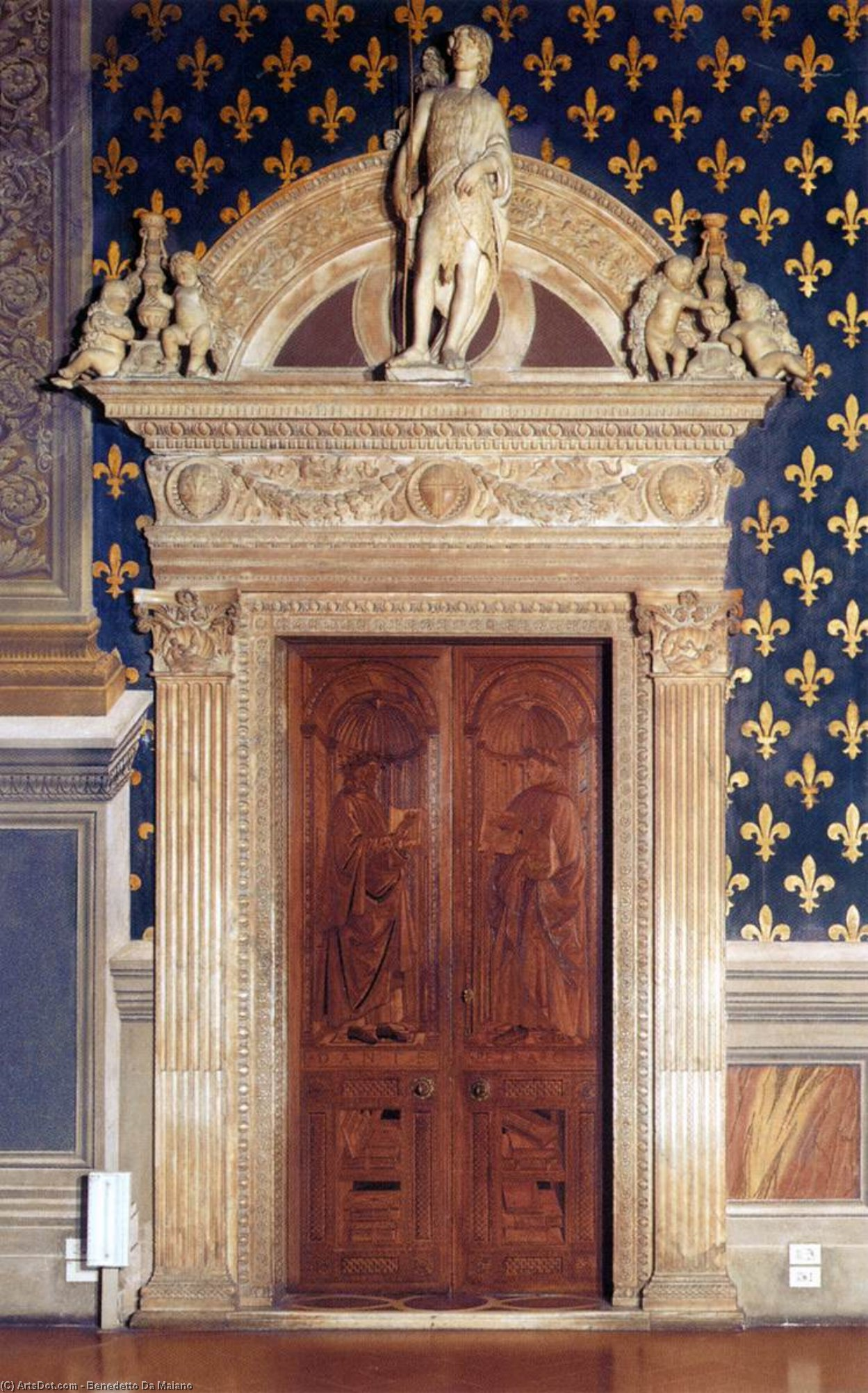 West wall portal of the Sala dei Gigli, Marble by Benedetto Da Maiano (1446-1497, Italy)