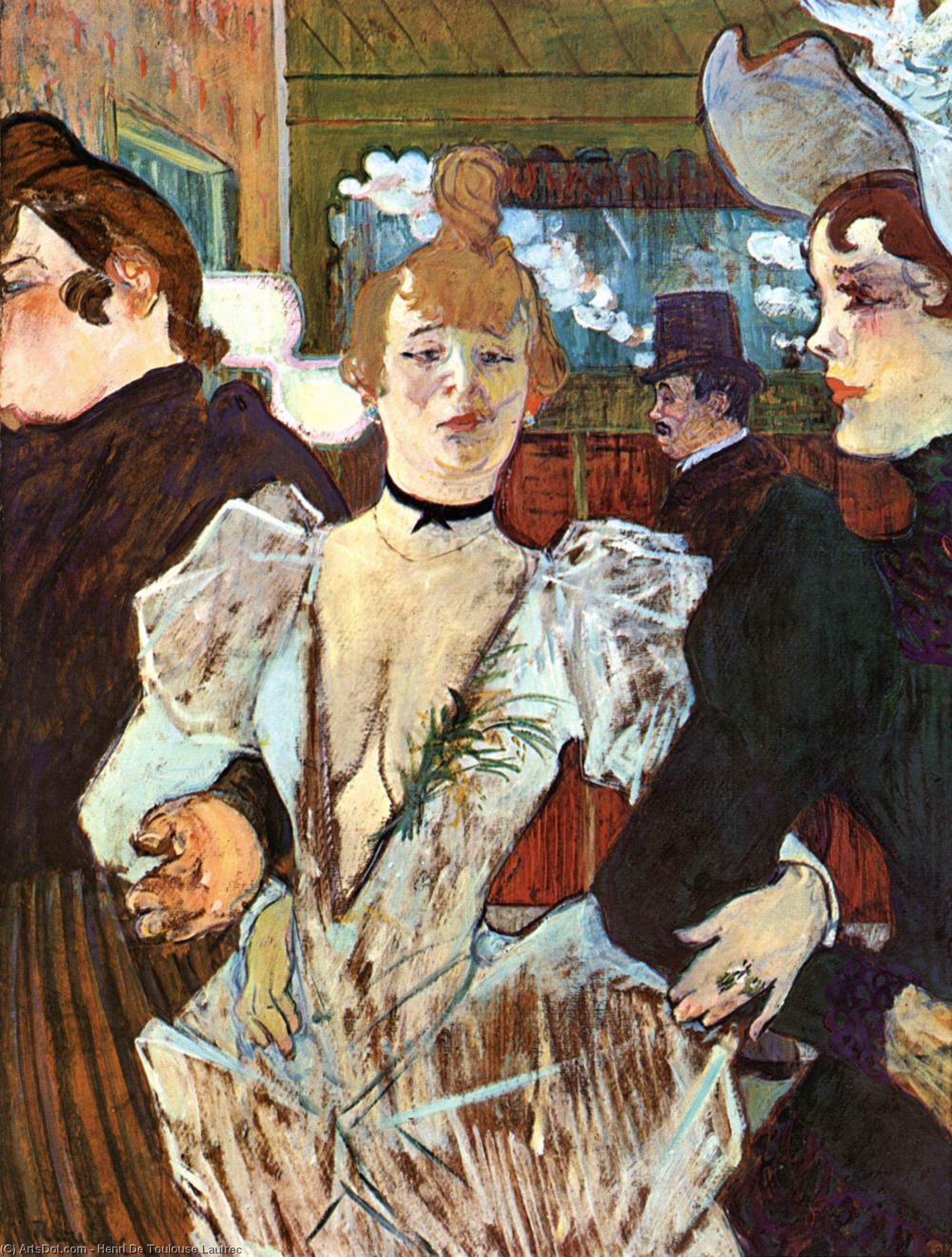 La Goulue Arriving at the Moulin Rouge with Two Women, Oil by Henri De Toulouse Lautrec (1864-1901, France)