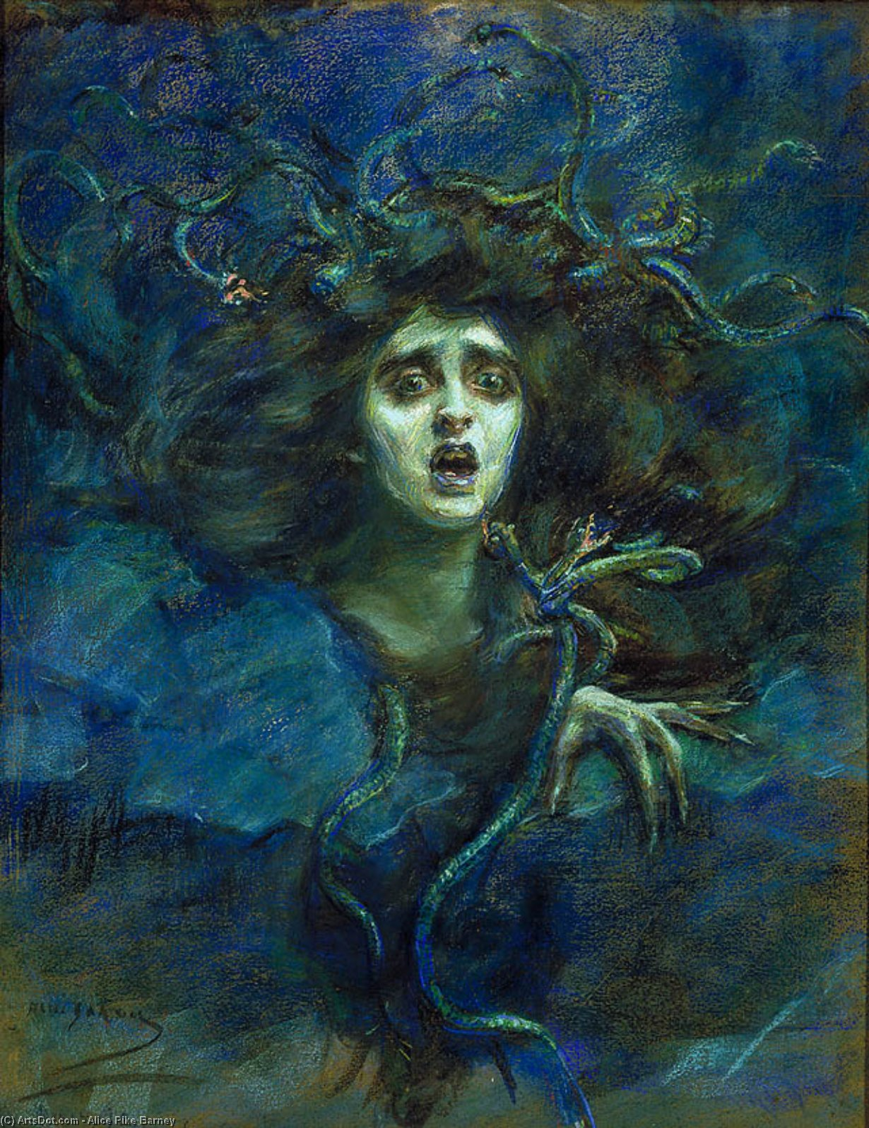 Medusa (also known as Laura Dreyfus Barney), 1892 by Alice Pike Barney (1857-1931, United States) | Museum Art Reproductions Alice Pike Barney | ArtsDot.com