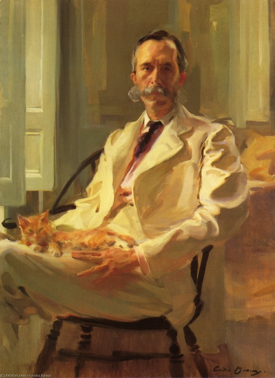 Man with the Cat (Henry Sturgis Drinker), Oil On Canvas by Cecilia Beaux (1855-1942, United States)