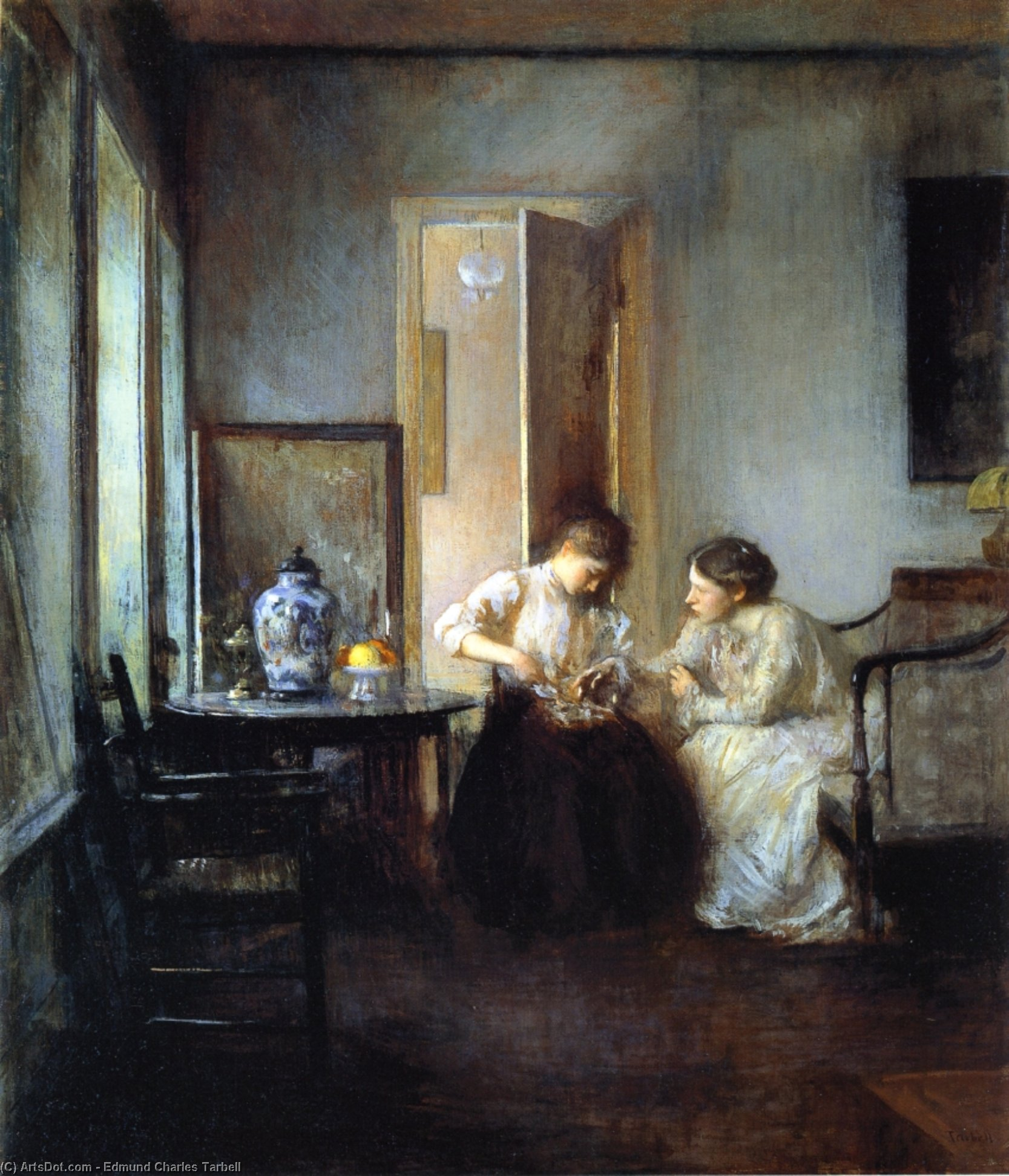 New England Interior, Oil On Canvas by Edmund Charles Tarbell (1862-1938, United States)