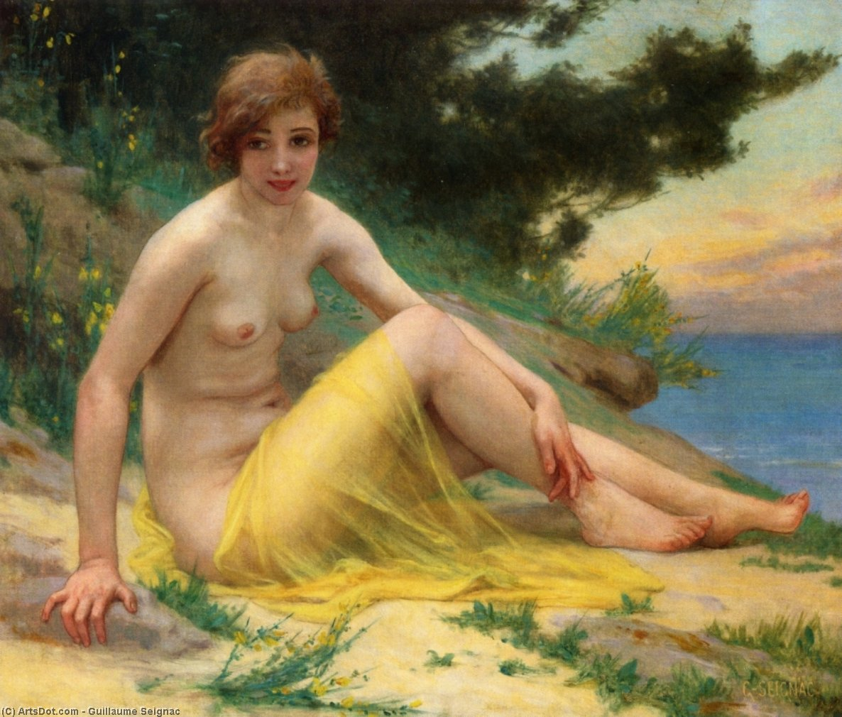 Nude at the Beach (also known as On the Shore), Oil On Canvas by Guillaume Seignac (1870-1924, France)
