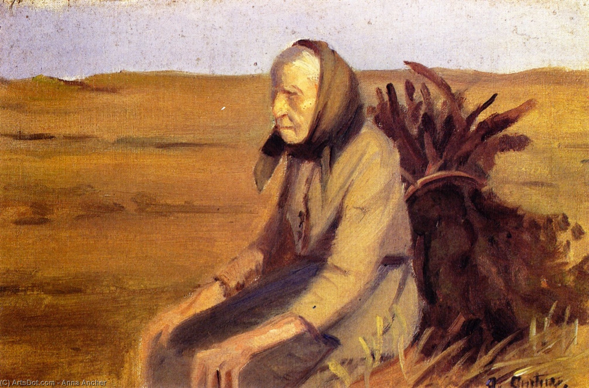 Old Woman with Bundle of Brushwood, 1903 by Anna Kirstine Ancher (1859-1935, Denmark) | Art Reproduction | ArtsDot.com
