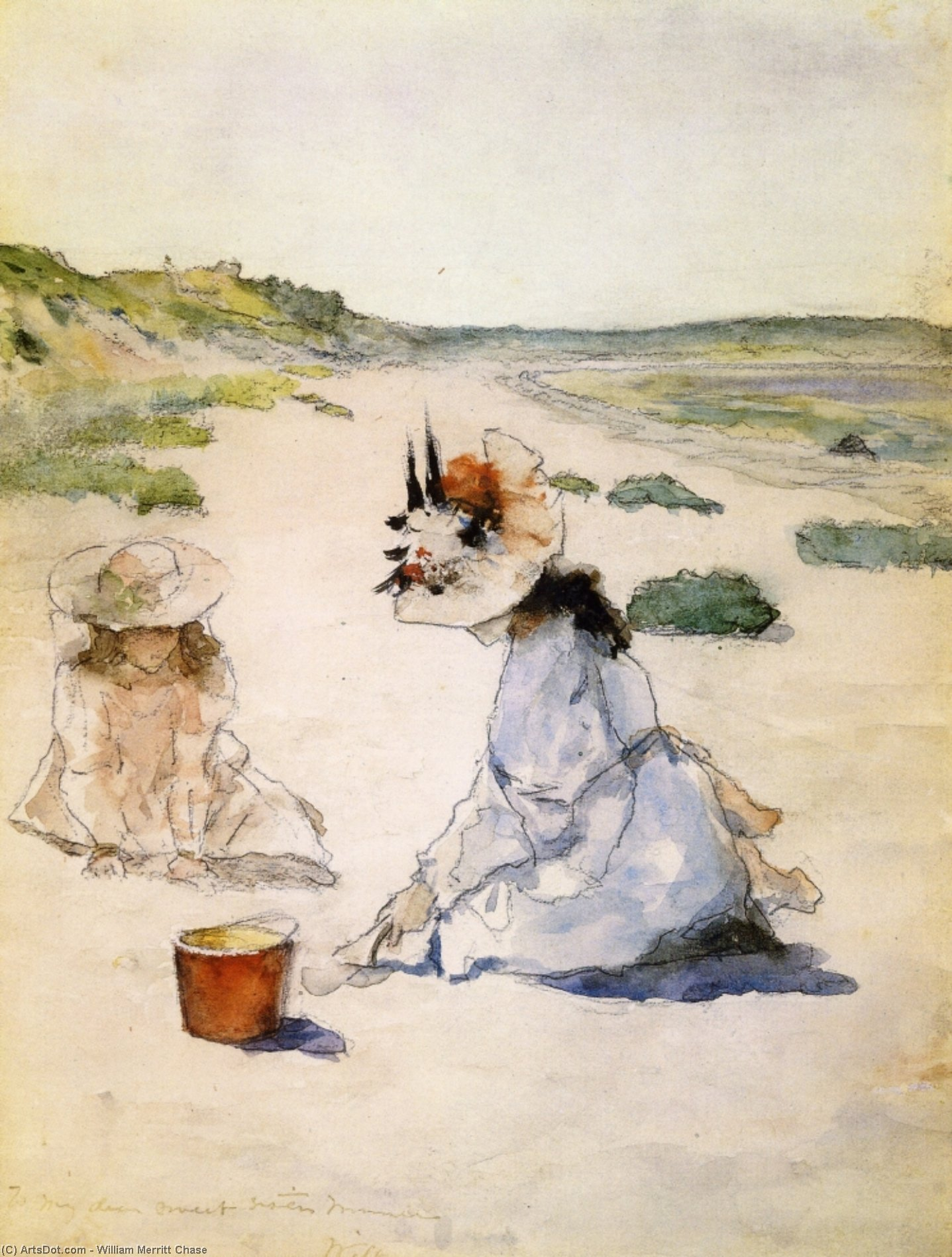 On the Beach, Shinnecock, Watercolour by William Merritt Chase (1849-1916, United States)