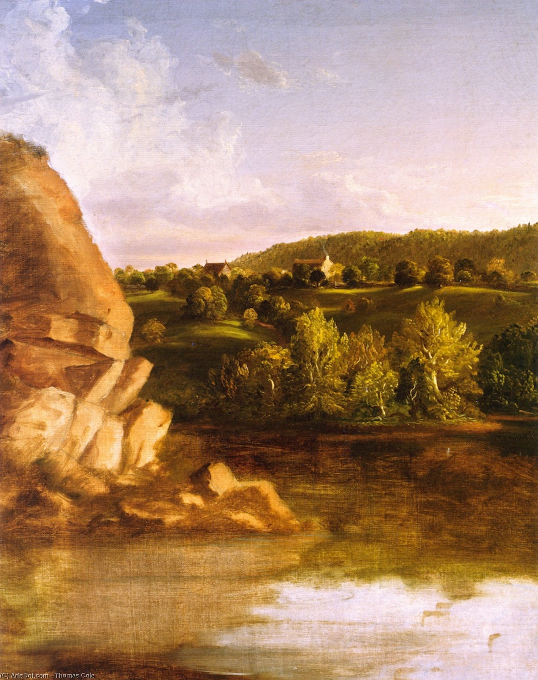 On Catskill Creek (unfinished?), Oil On Canvas by Thomas Cole (1801-1848, United Kingdom)