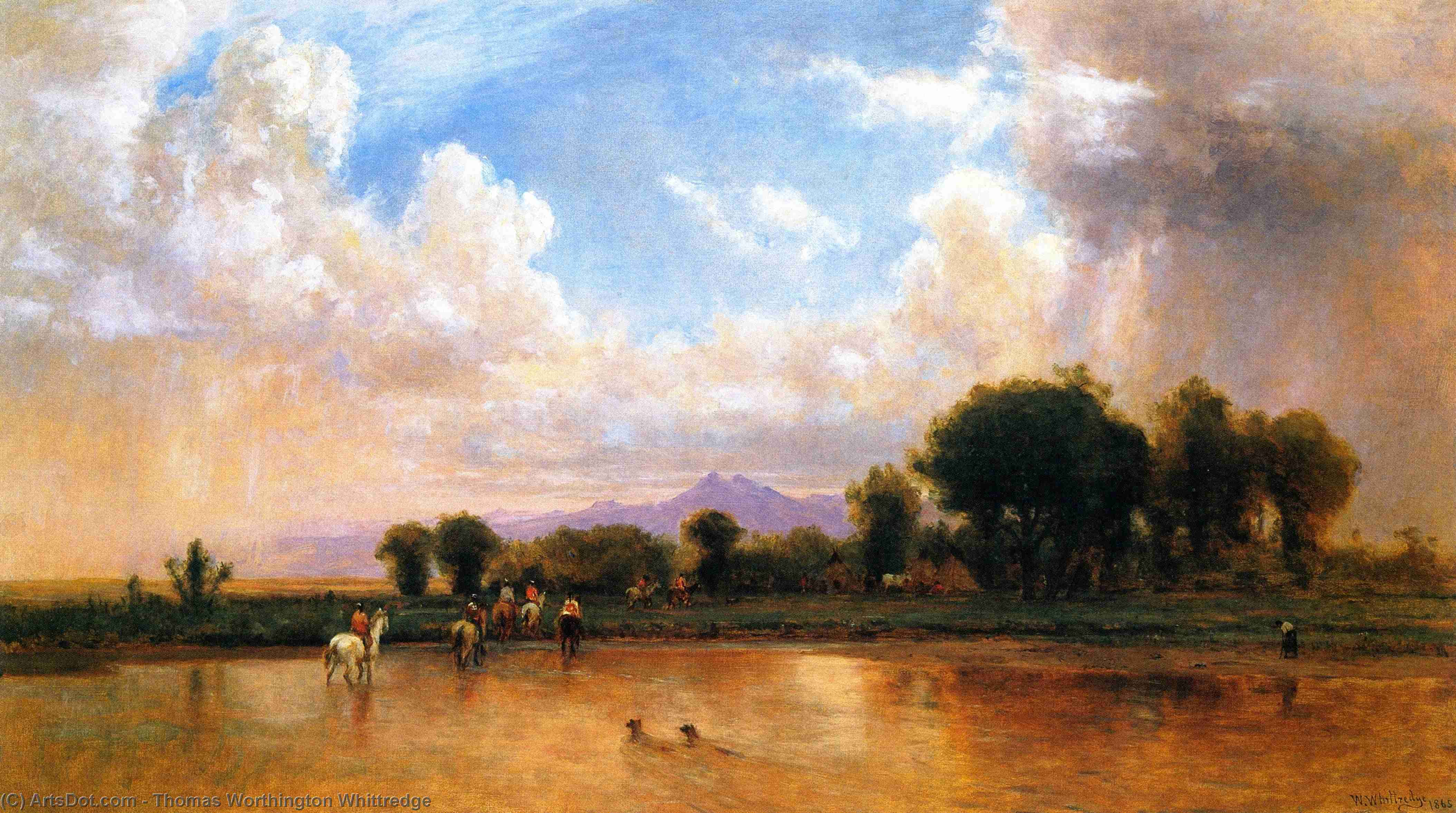 On the Plains, Cache la Poudre River, 1866 by Thomas Worthington Whittredge (1820-1910, United States) | Paintings Reproductions Thomas Worthington Whittredge | ArtsDot.com