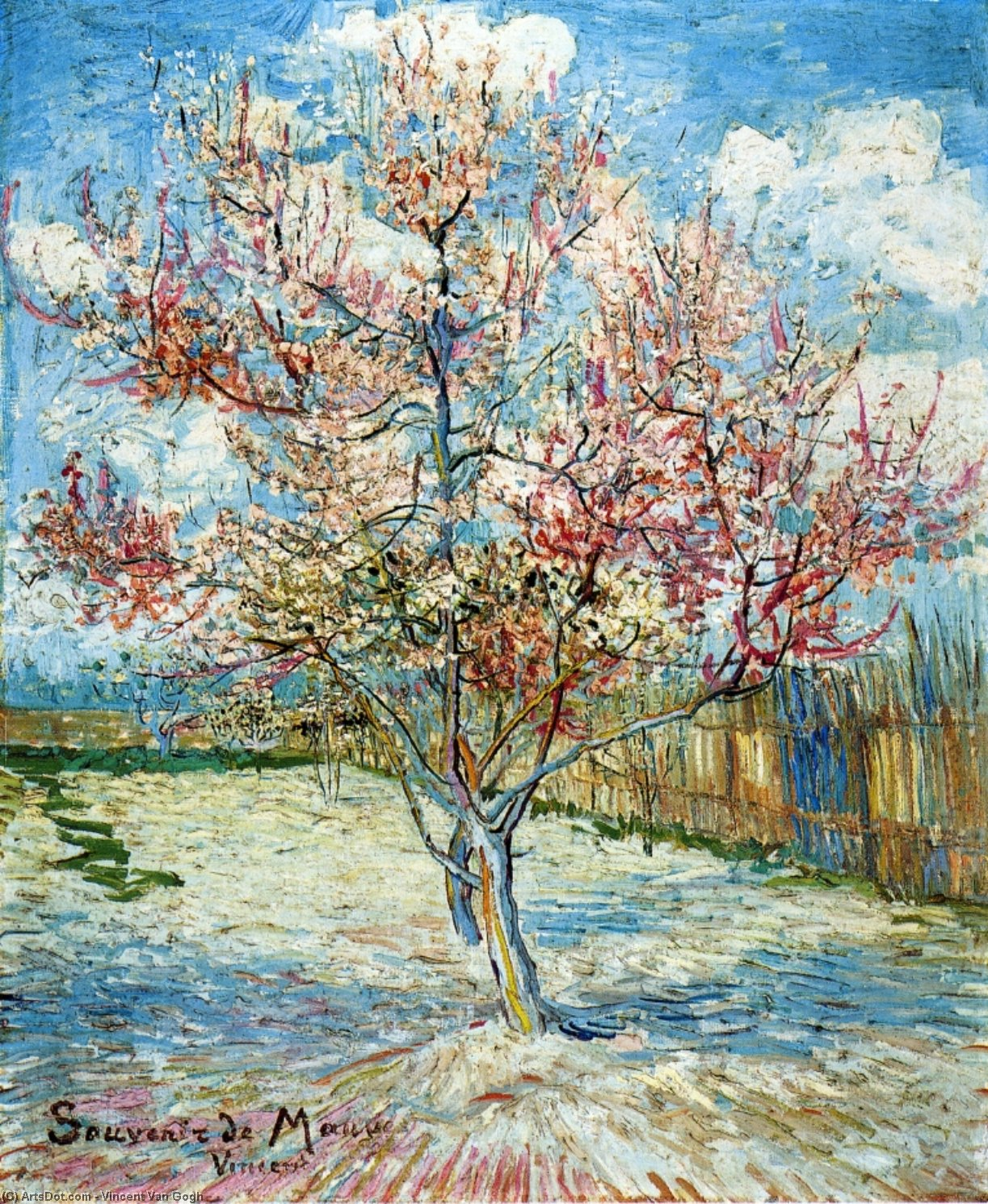 Order Museum Quality Copies | Peach Trees in Blossom, 1888 by Vincent Van Gogh (1853-1890, Netherlands) | ArtsDot.com