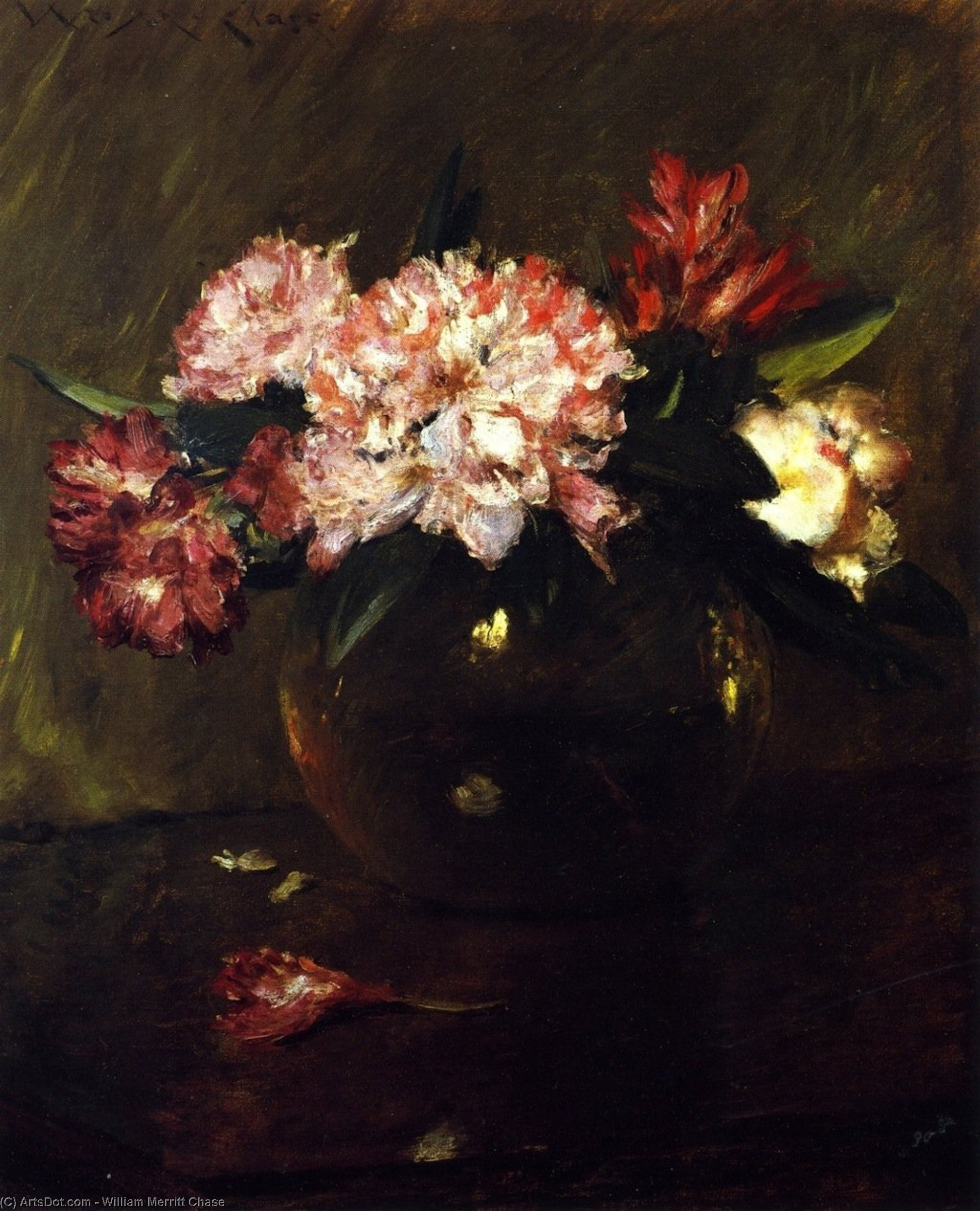Peonies and Irises, Oil On Canvas by William Merritt Chase (1849-1916, United States)
