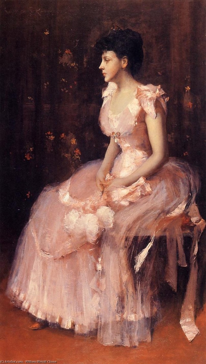 Portrait of a Lady in Pink (also known as Lady in Pink - Portrait of Mrs. Leslie Cotton), Oil On Canvas by William Merritt Chase (1849-1916, United States)