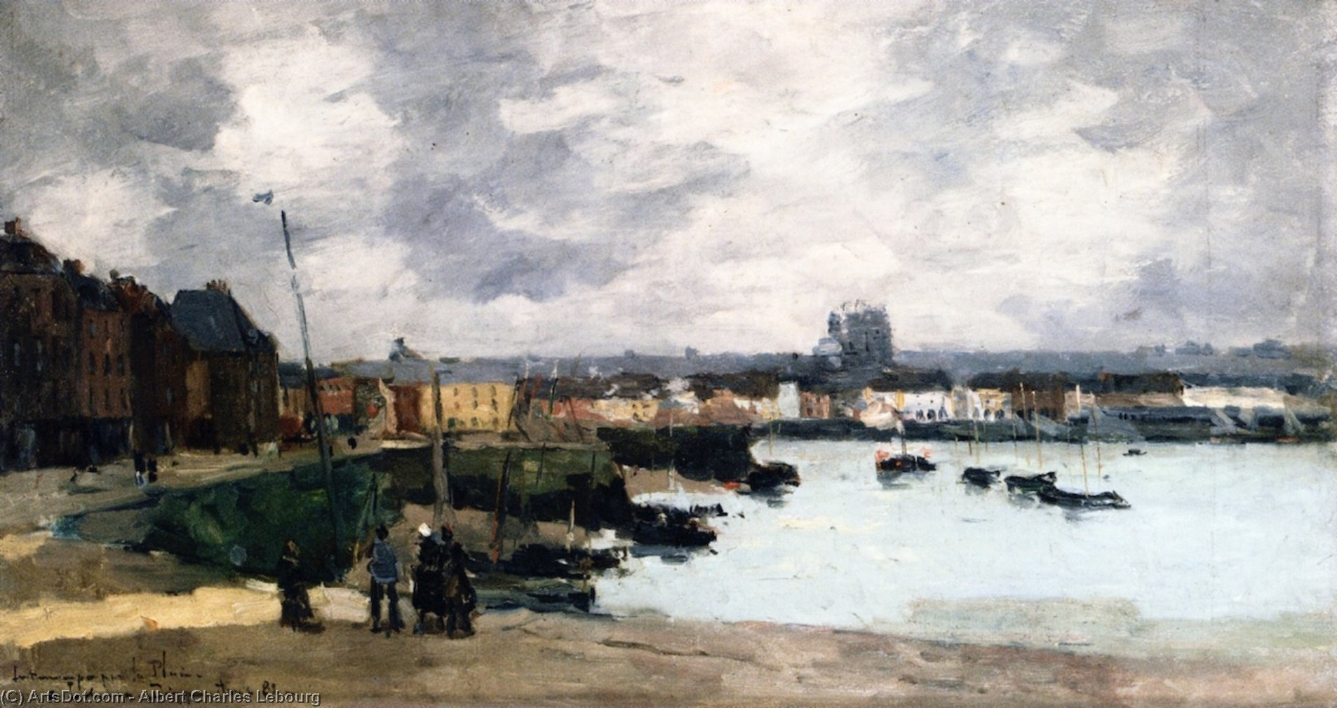 The Quays of Dieppe, after the Rain, 1882 by Albert-Charles Lebourg (Albert-Marie Lebourg) (1849-1928, France) | Painting Copy | ArtsDot.com