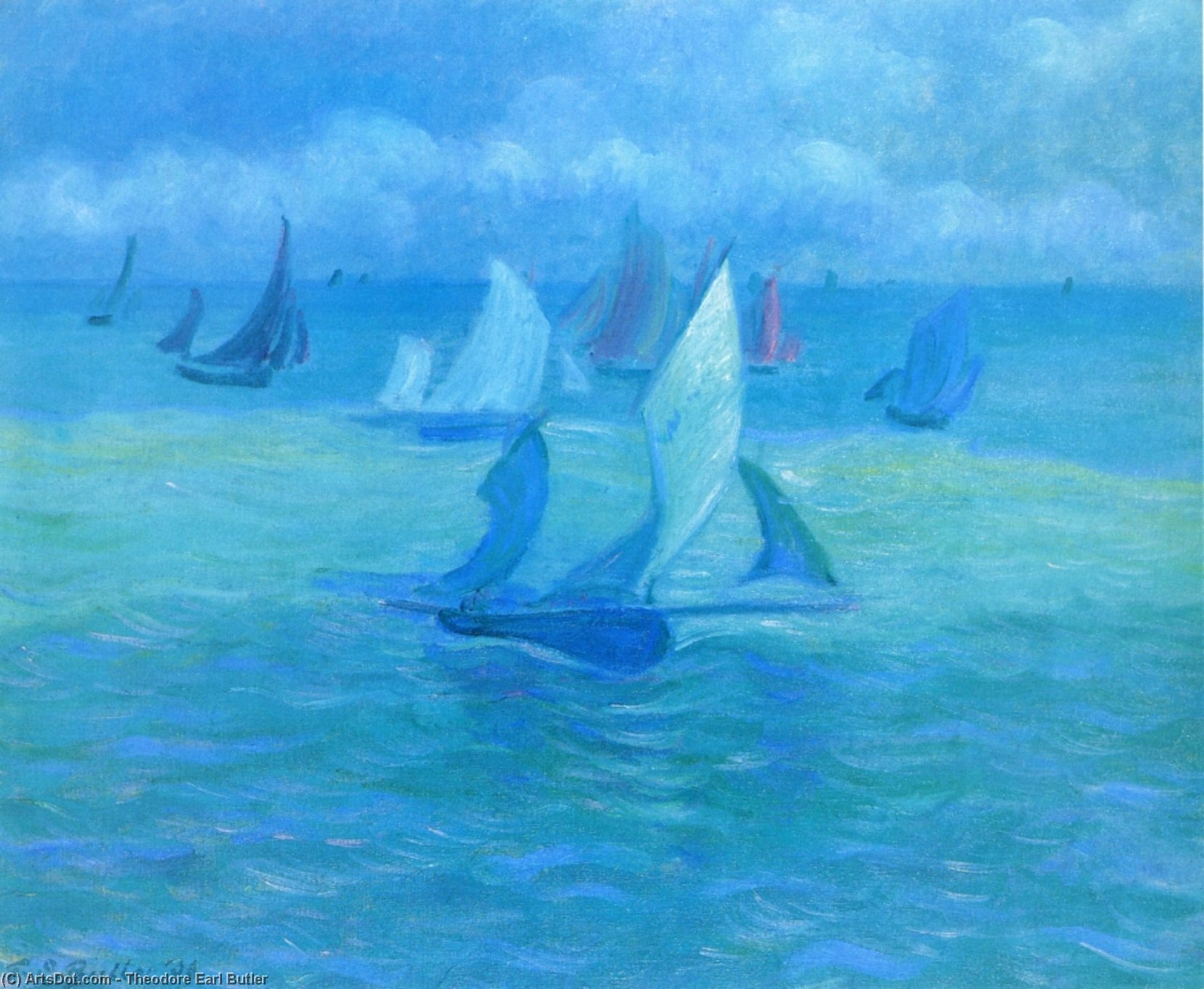 Sailboats on the Water, 1906 by Theodore Earl Butler (1861-1936, United States) | Art Reproduction | ArtsDot.com