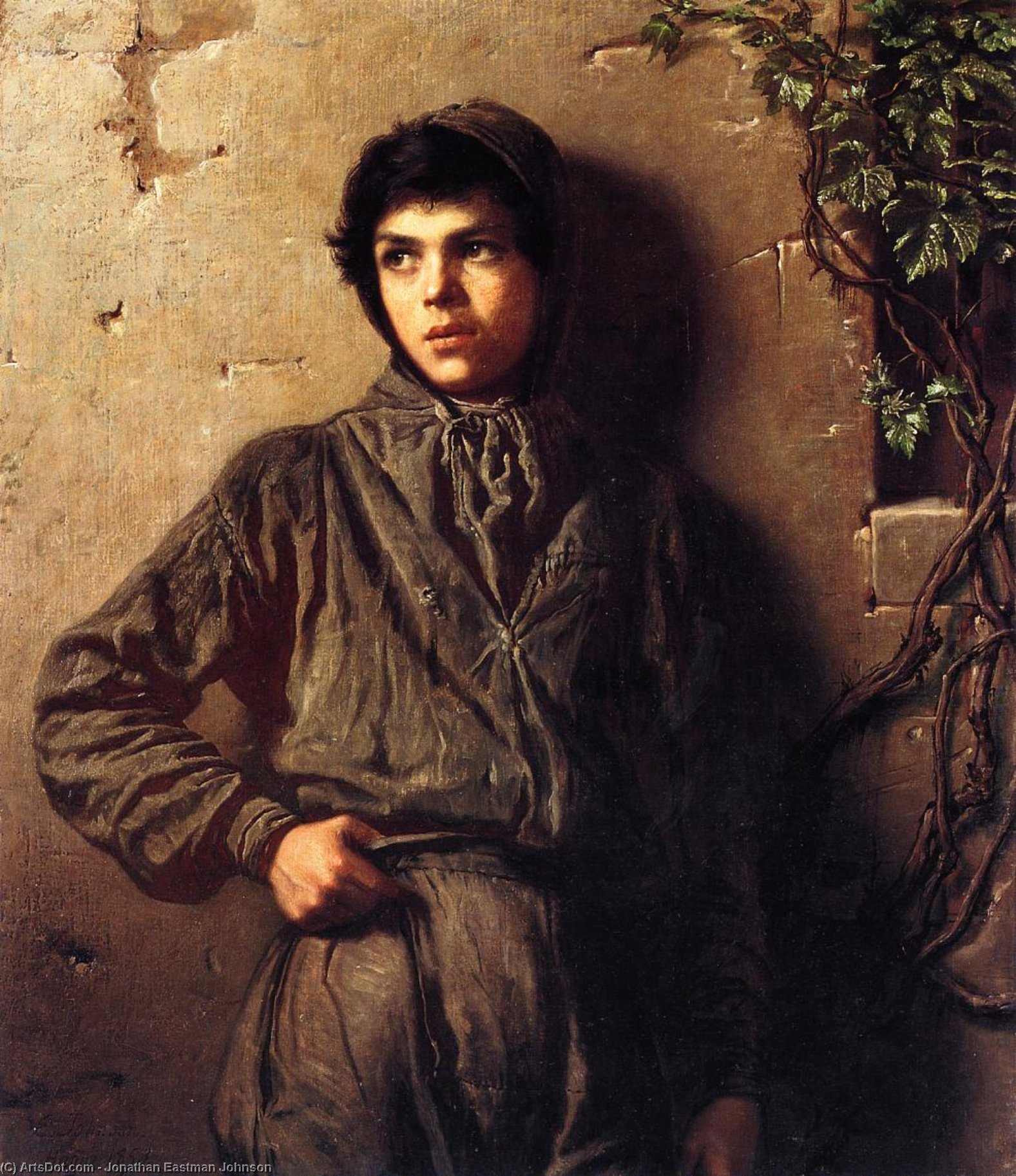 The Savoyard Boy, Oil On Canvas by Jonathan Eastman Johnson (1824-1906, United Kingdom)