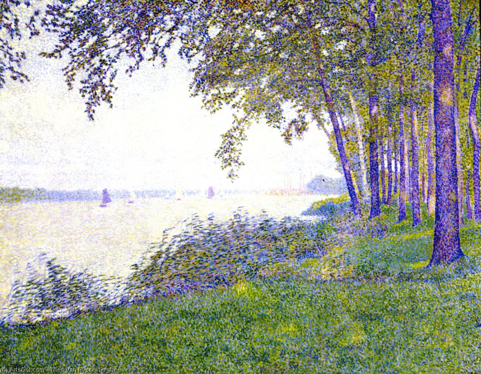 The Scheldt upstream from Antwerp: After the Fog, Oil On Canvas by Theo Van Rysselberghe (1862-1926, Belgium)