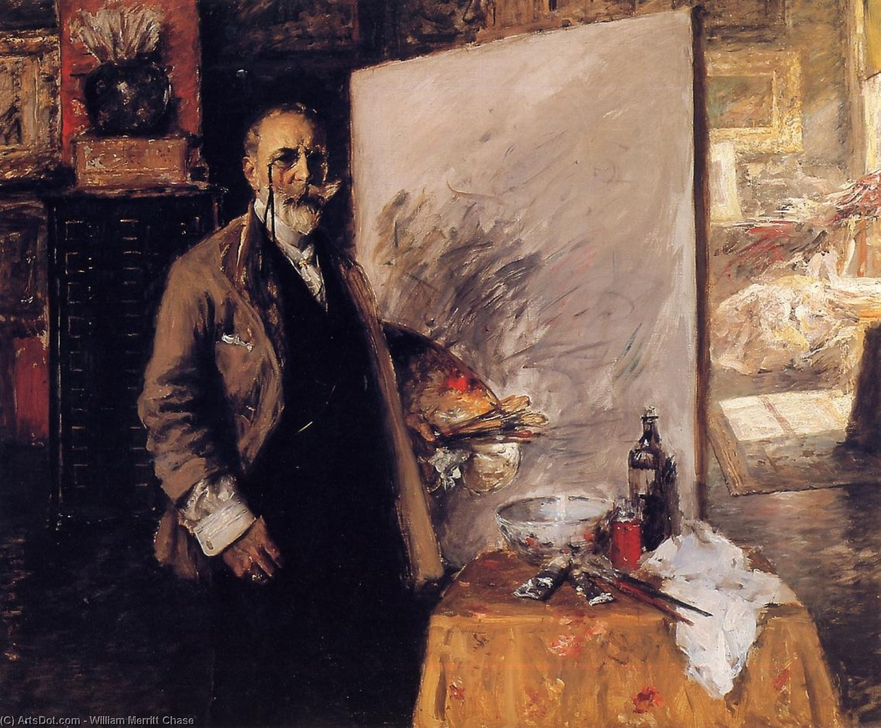 Self Portrait, Oil On Canvas by William Merritt Chase (1849-1916, United States)