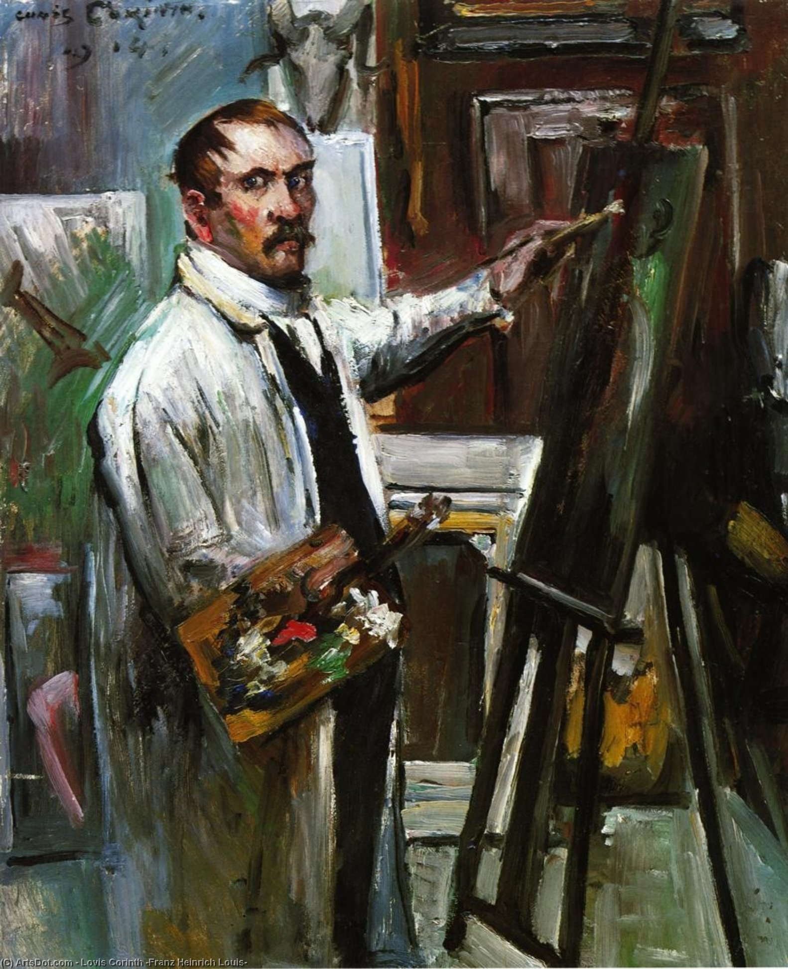 Self Portrait in the Studio, Painting by Lovis Corinth (Franz Heinrich Louis) (1858-1925, Netherlands)