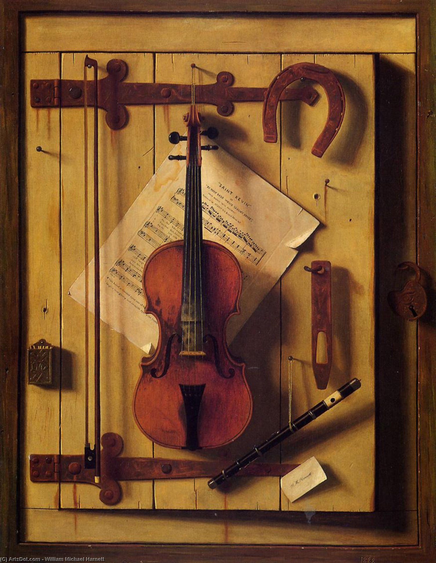 Still Life: Violin and Music (also known as Music Literature), Oil On Canvas by William Michael Harnett (1848-1892, Ireland)