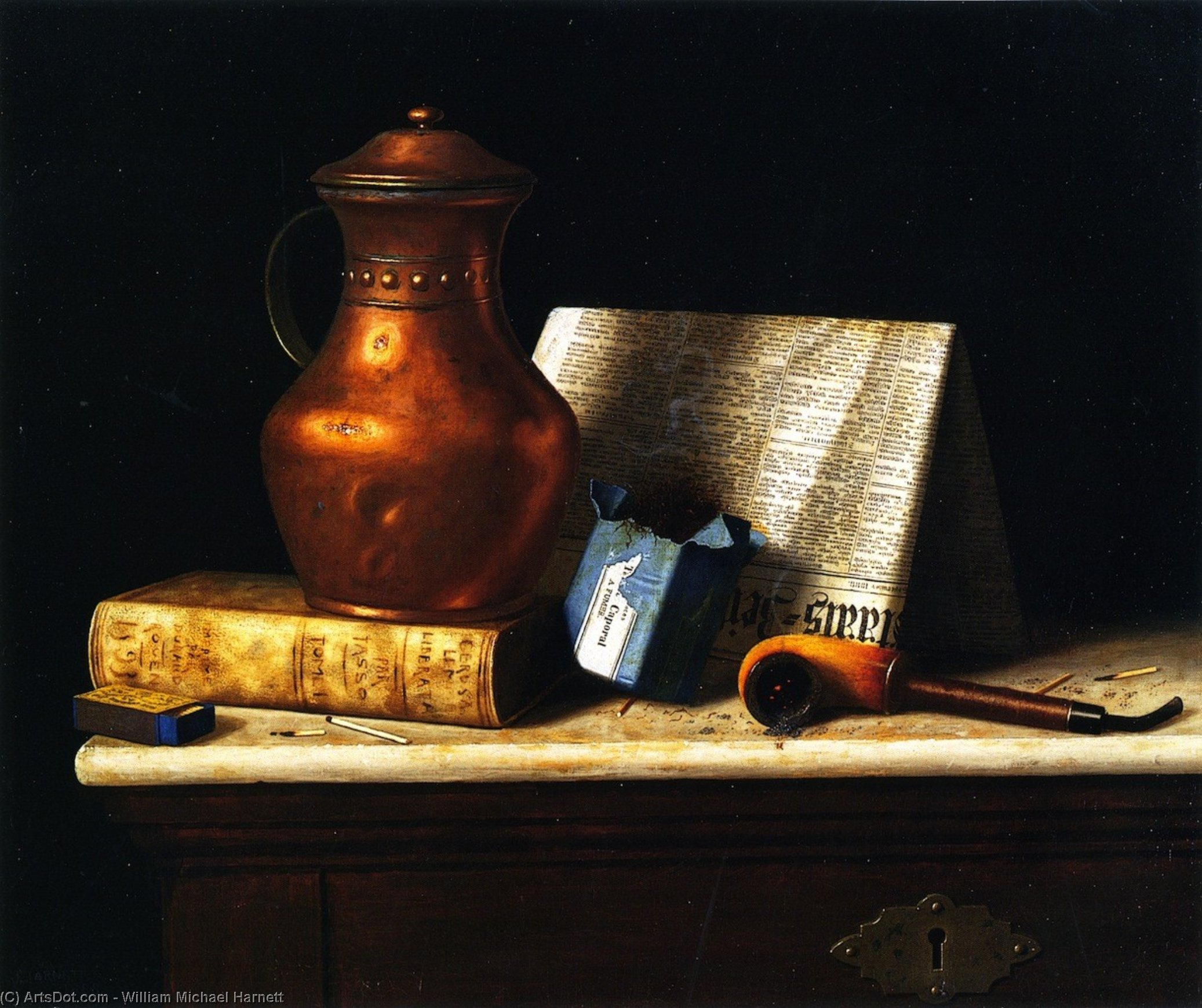 Still LIfe with Copper Jug, Oil On Canvas by William Michael Harnett (1848-1892, Ireland)