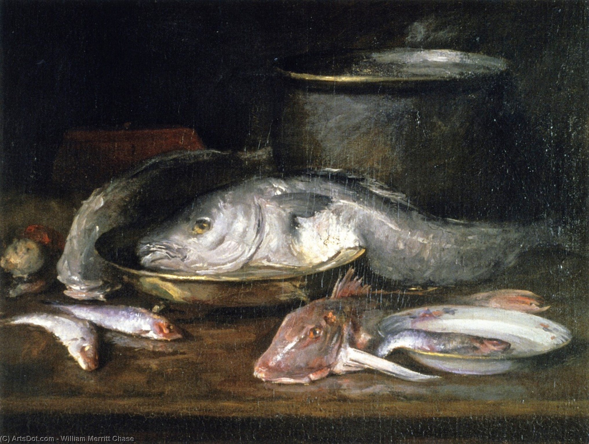 Still Life with Fish and Pot, Oil On Canvas by William Merritt Chase (1849-1916, United States)