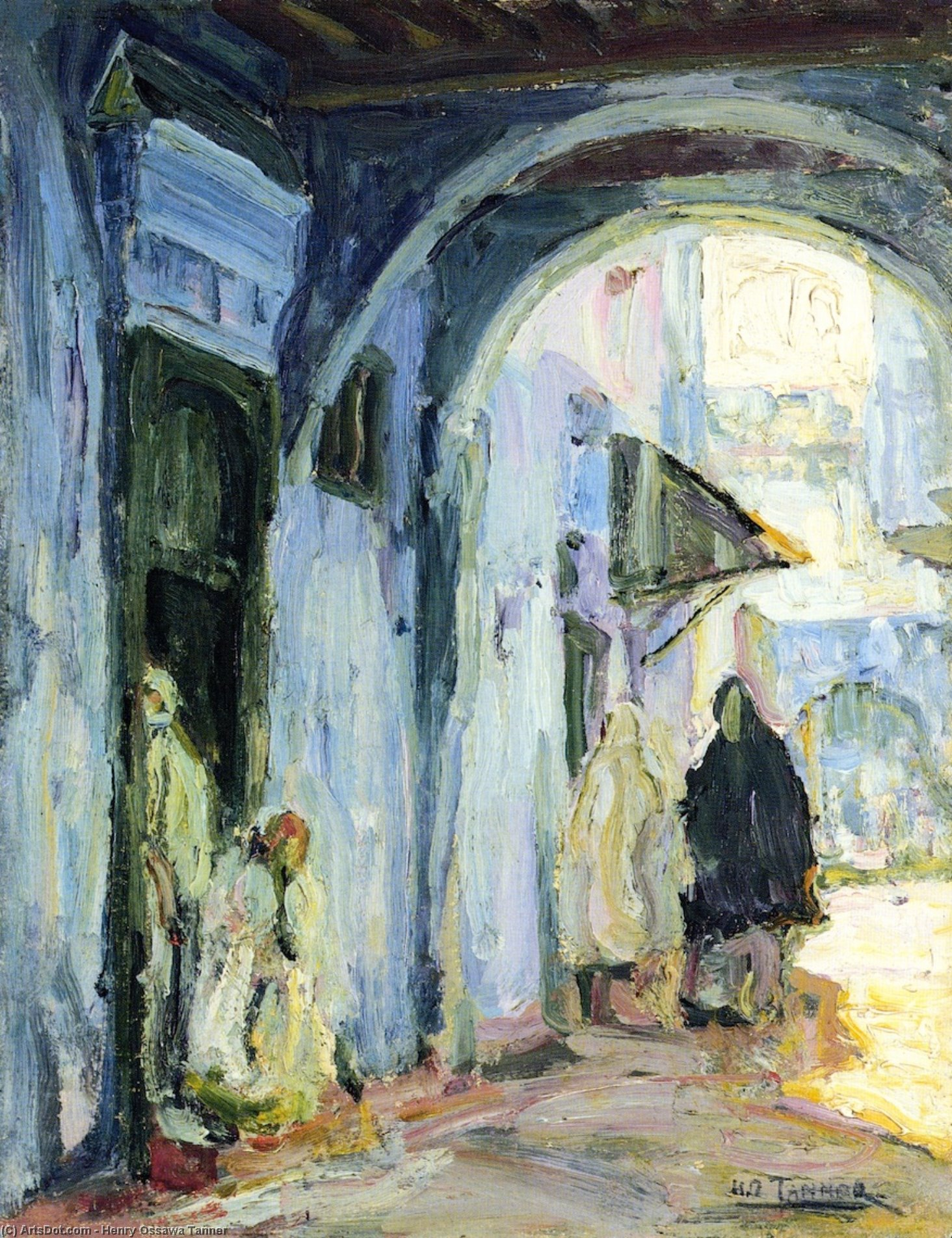 Street in Tangier, Painting by Henry Ossawa Tanner (1859-1937, United States)