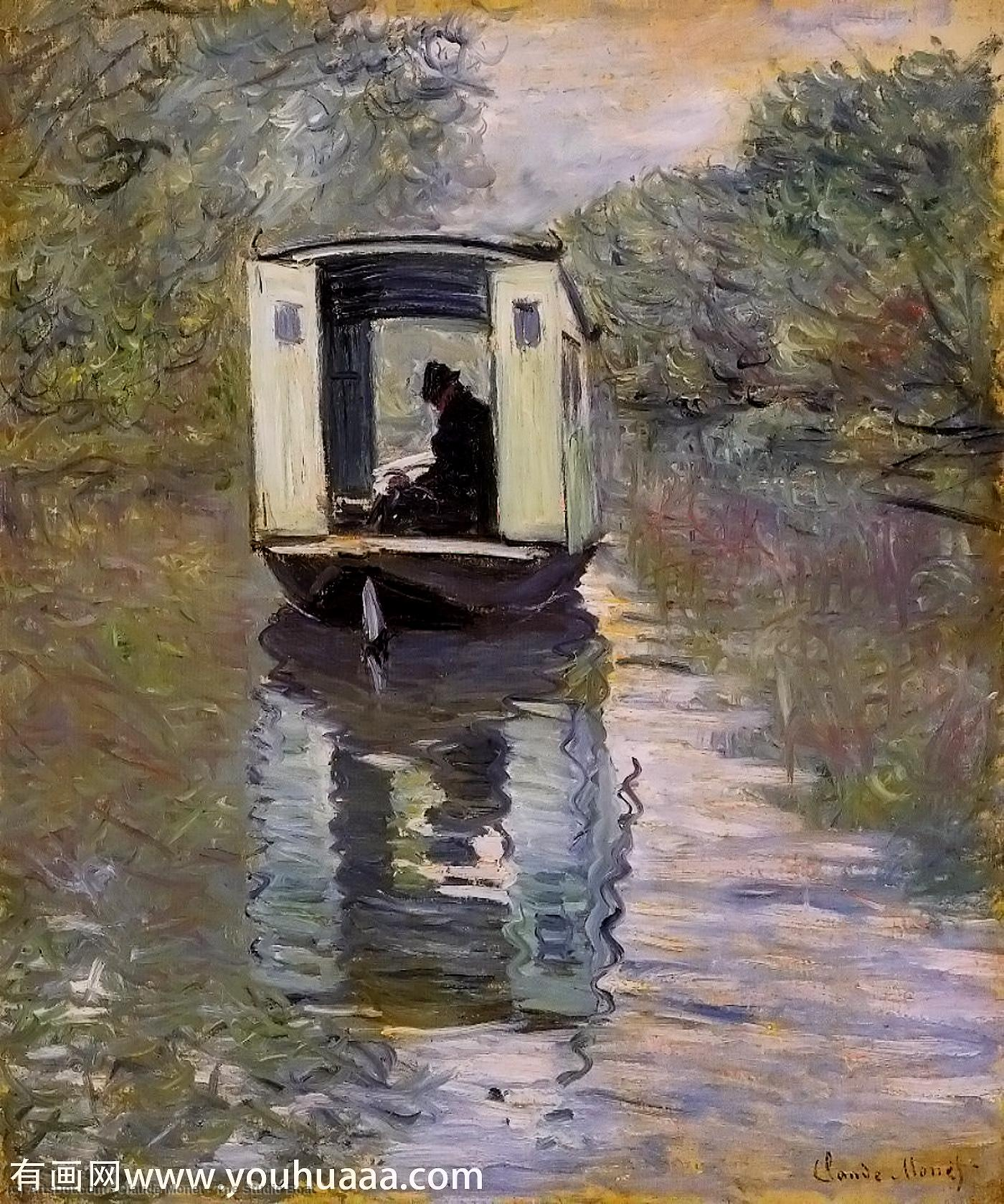 The Studio Boat, 1876 by Claude Monet (1840-1926, France) | Museum Art Reproductions Claude Monet | ArtsDot.com
