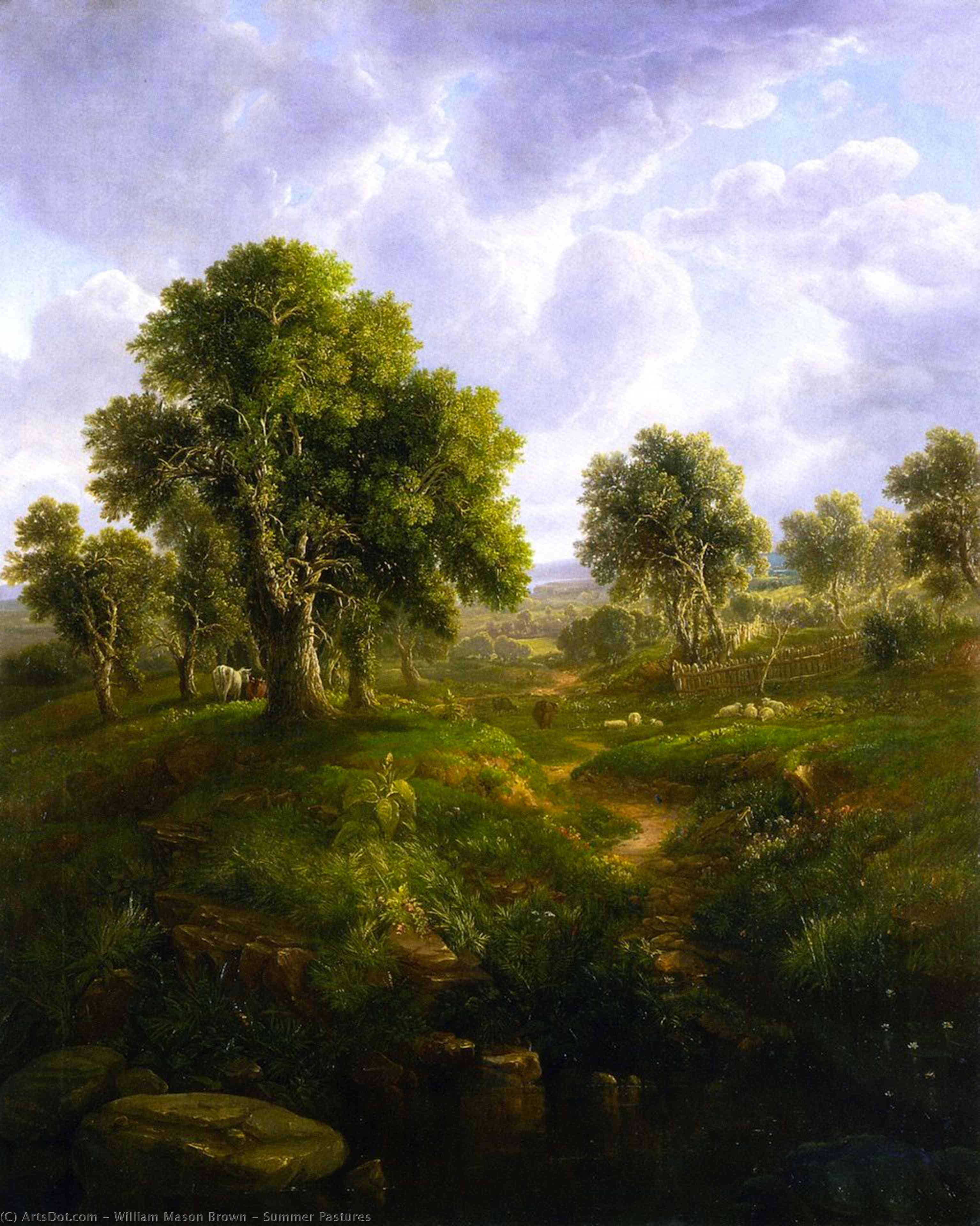 Summer Pastures, Oil On Canvas by William Mason Brown (1828-1898, United States)
